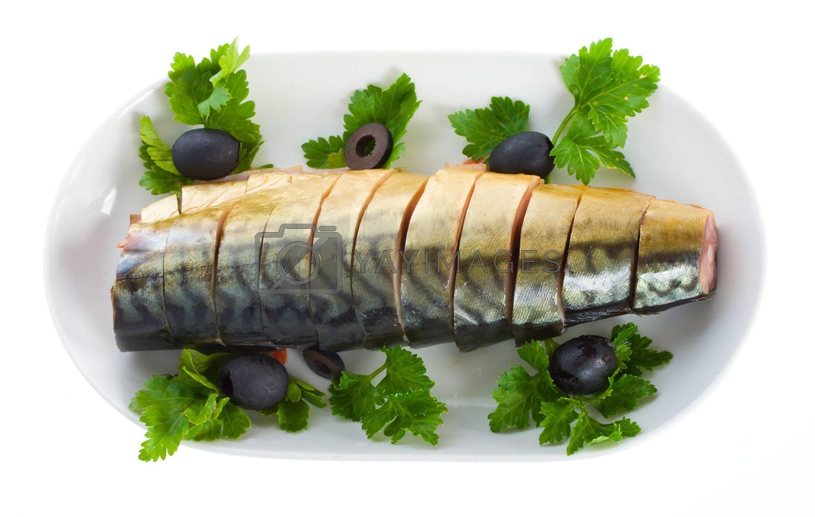 mackerel on plate, isolated