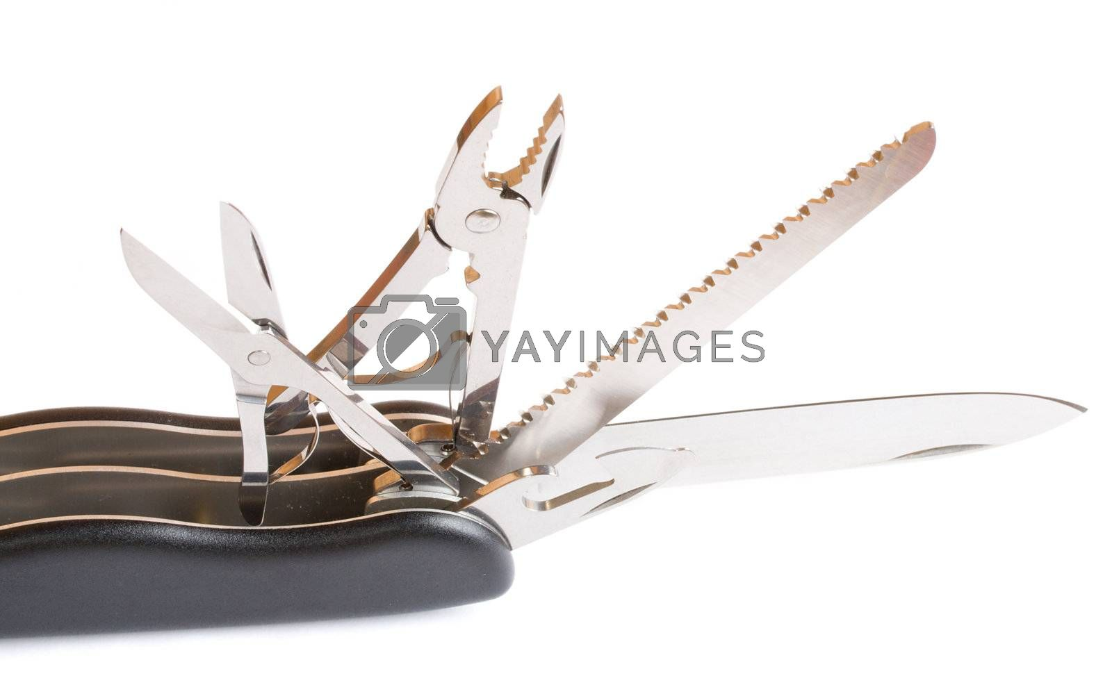 Royalty free image of opened black army penknife by Alekcey