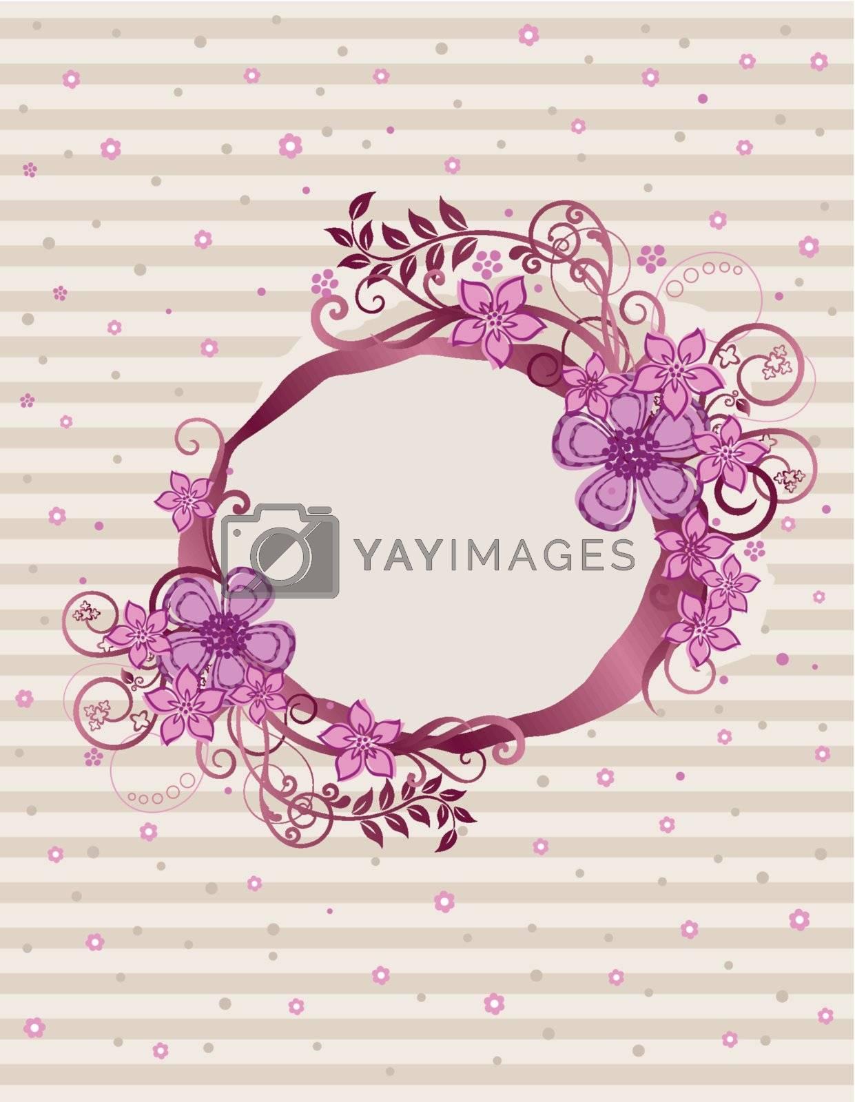 Floral pink oval frame design. This image is a vector illustration. Please visit my portfolio for more similar illustrations.