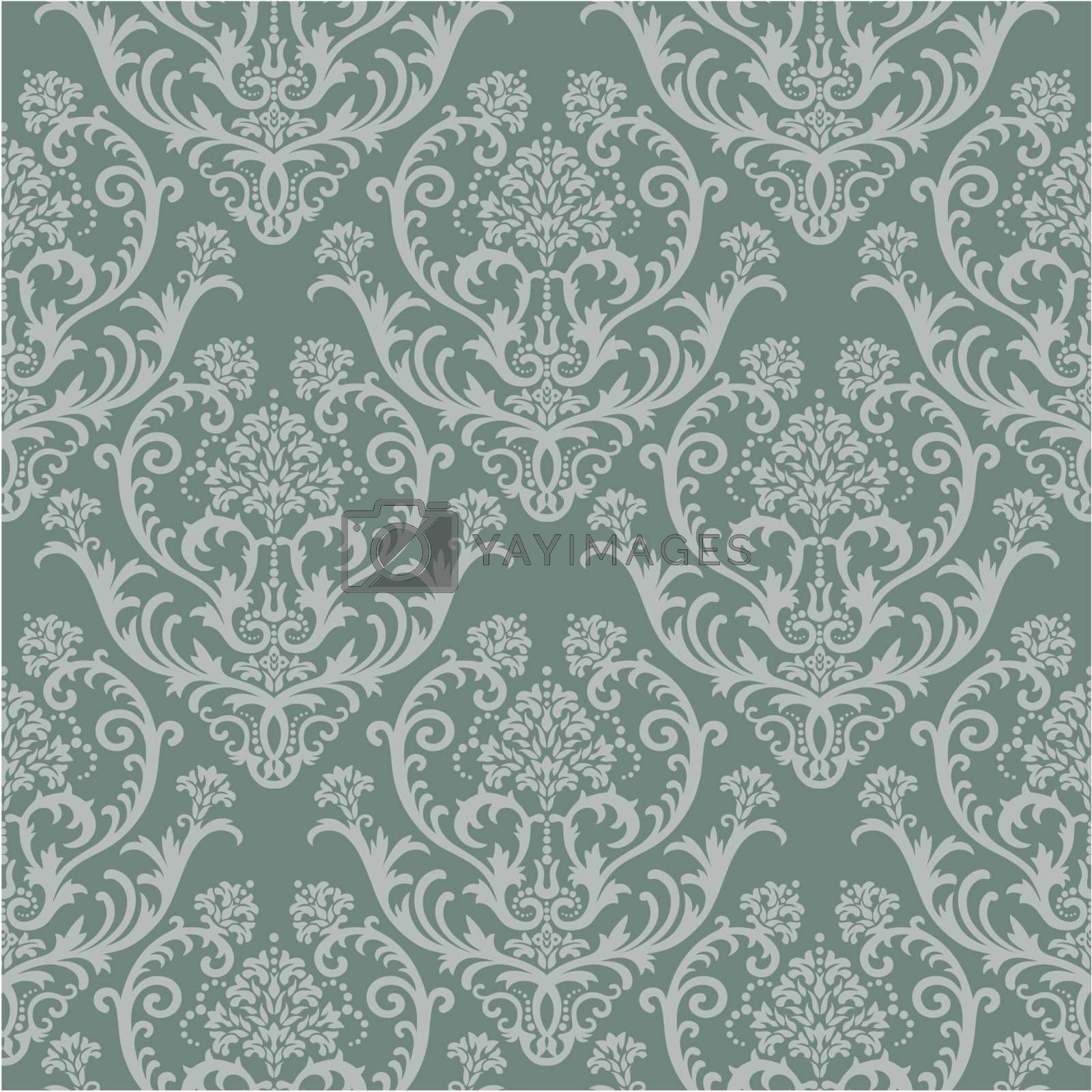 Seamless green floral damask wallpaper. This image is a vector illustration. Please visit my portfolio for more similar illustrations.