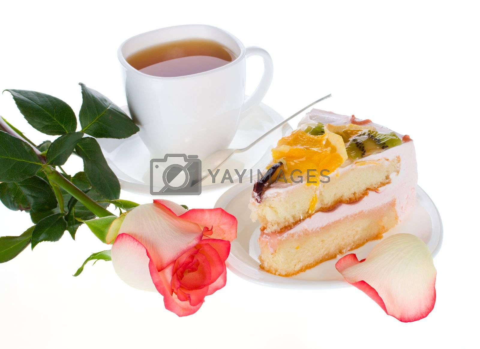rose cake with fruits and cup of tea, isolated on white