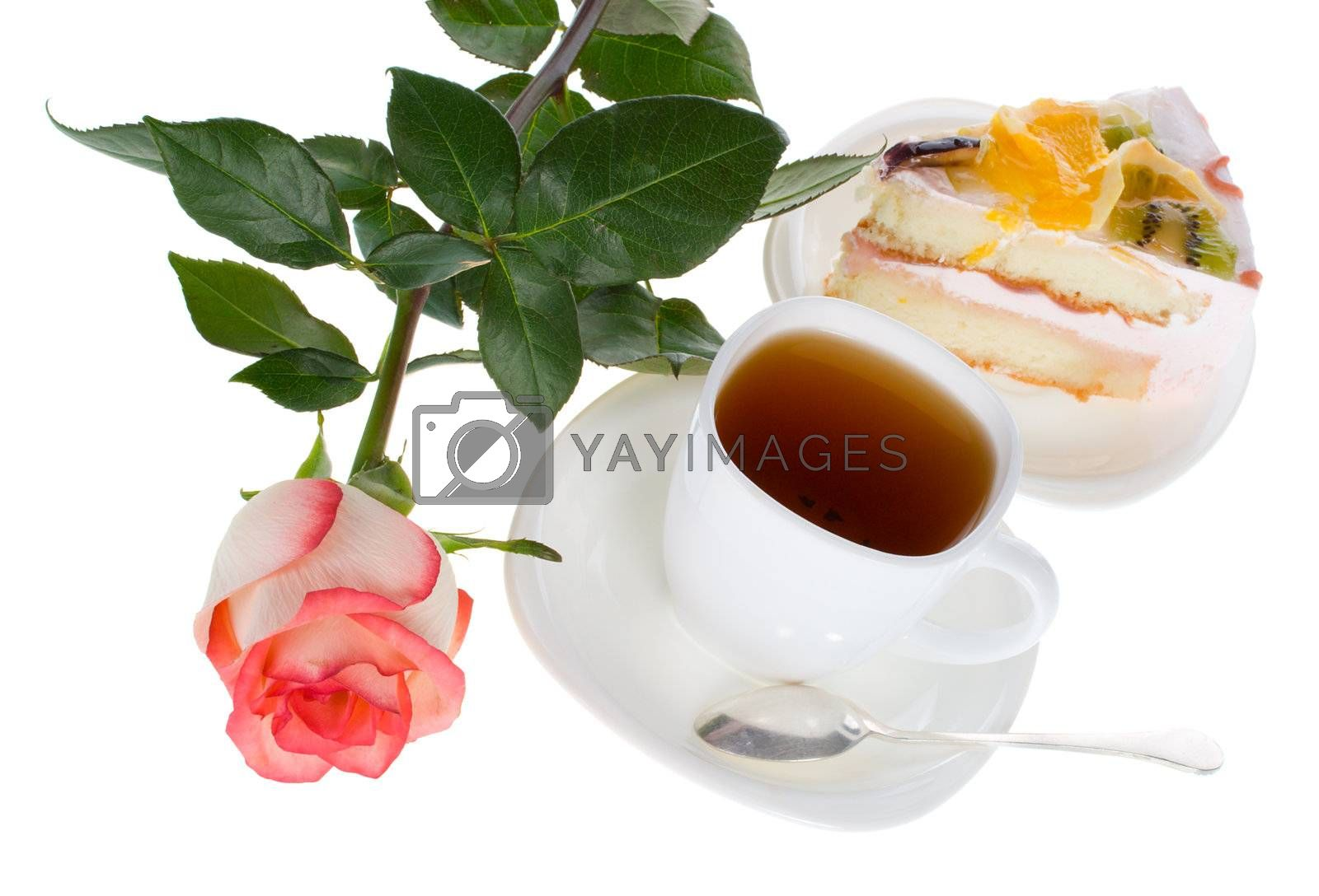 rose cup of tea and cake with fruits, isolated on white