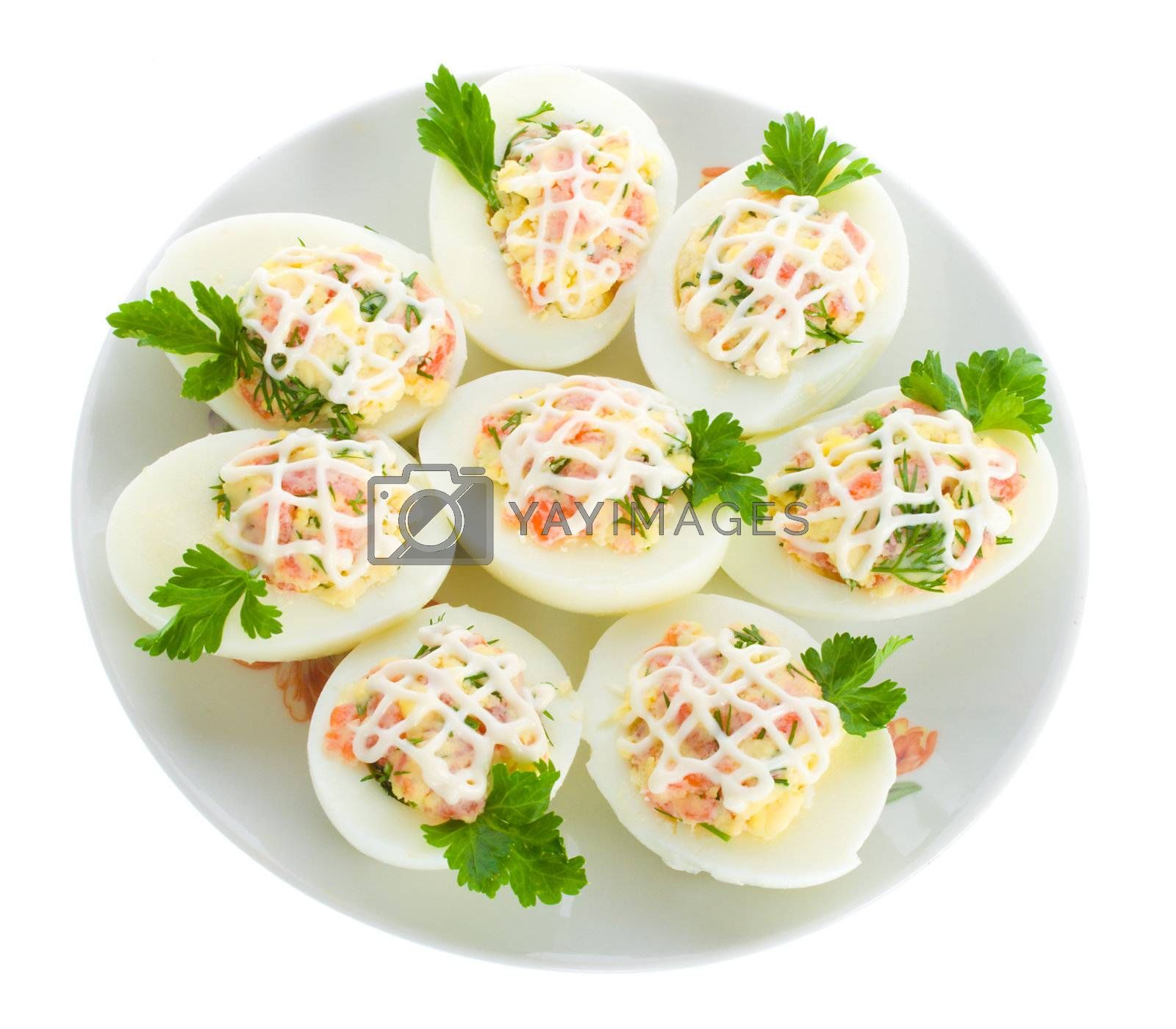 stuffed eggs with red fish, view from above, isolated on white