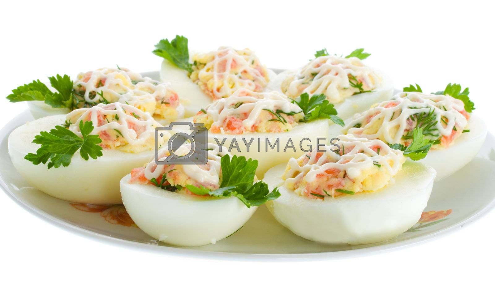stuffed eggs with trout, isolated on white
