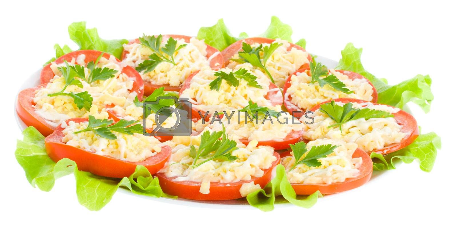 stuffed tomatoes with cheese and garlic, isolated on white