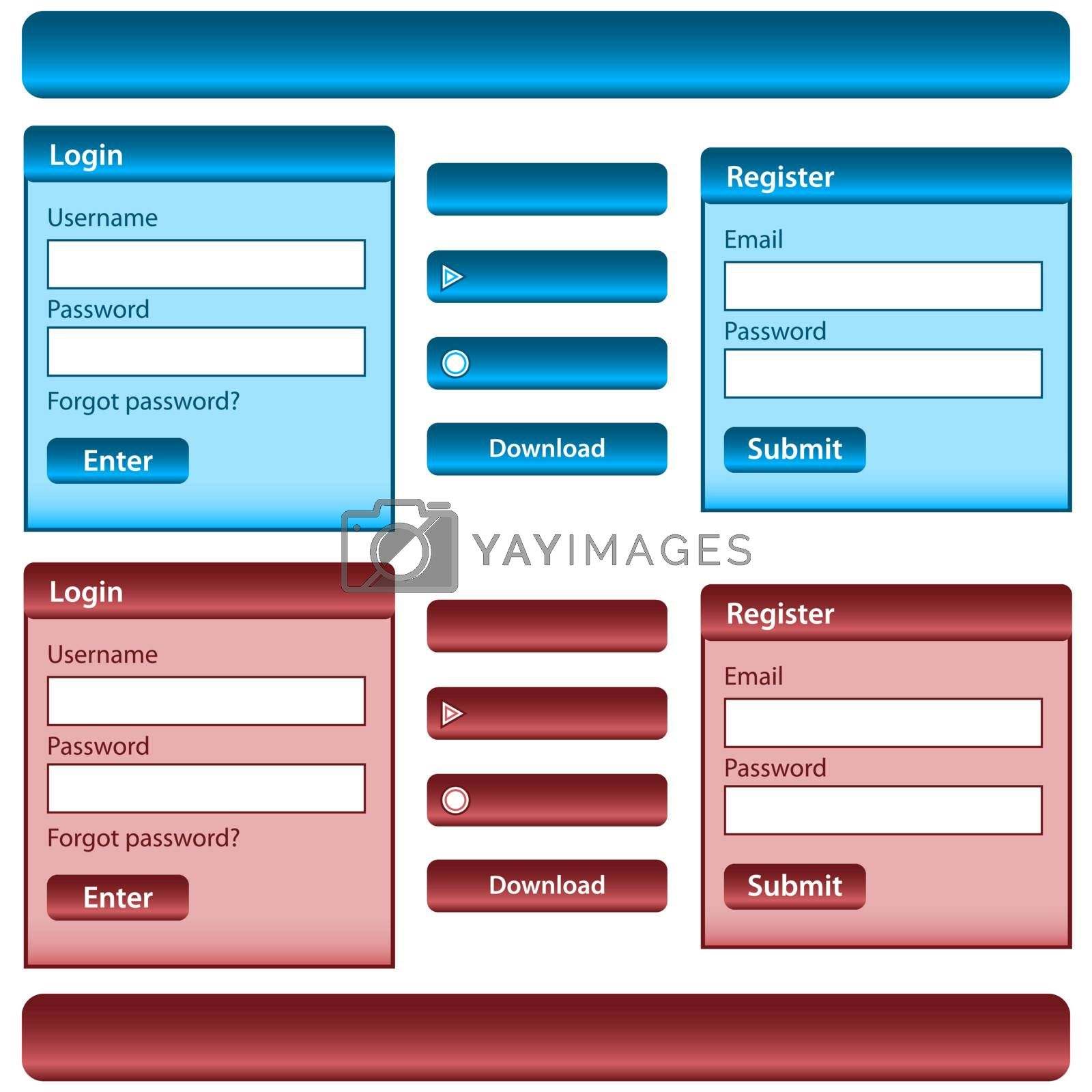 Web design template inc elements with login and register modules, buttons and menu bars in blue and red. Isolated on white.