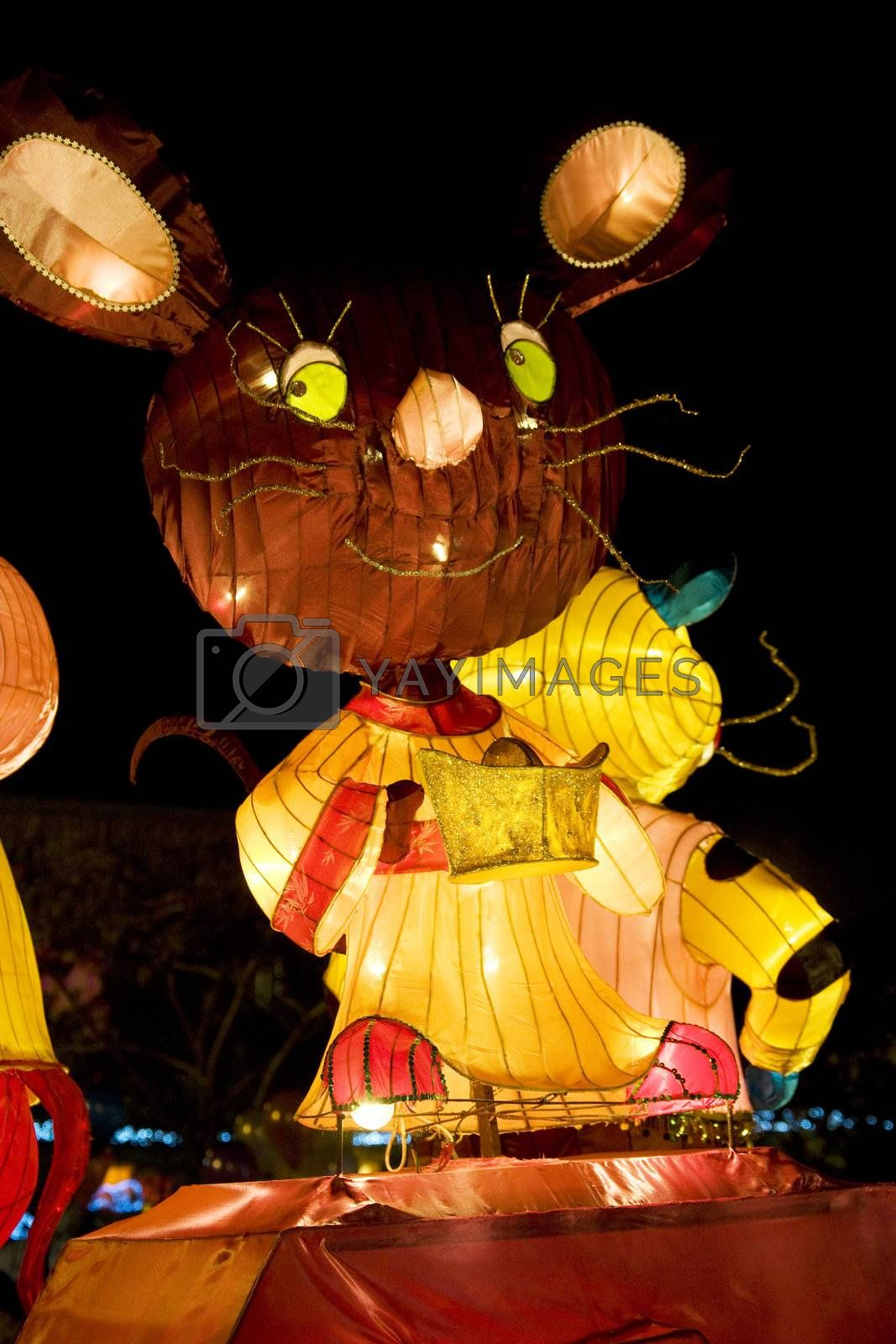 Image of a Chinese animal zodiac lantern depicting a rat seen at the Dong Zen Chinese Temple in Malaysia during the Chinese New Year celebration on 26th January 2009.