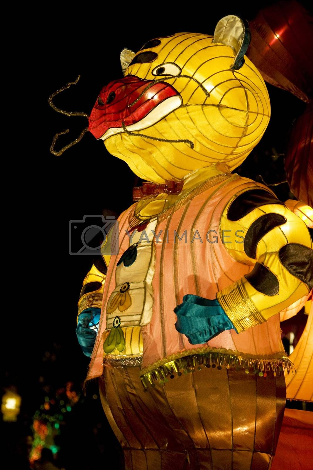 Image of a Chinese animal zodiac lantern depicting a tiger seen at the Dong Zen Chinese Temple in Malaysia during the Chinese New Year celebration on 26th January 2009.