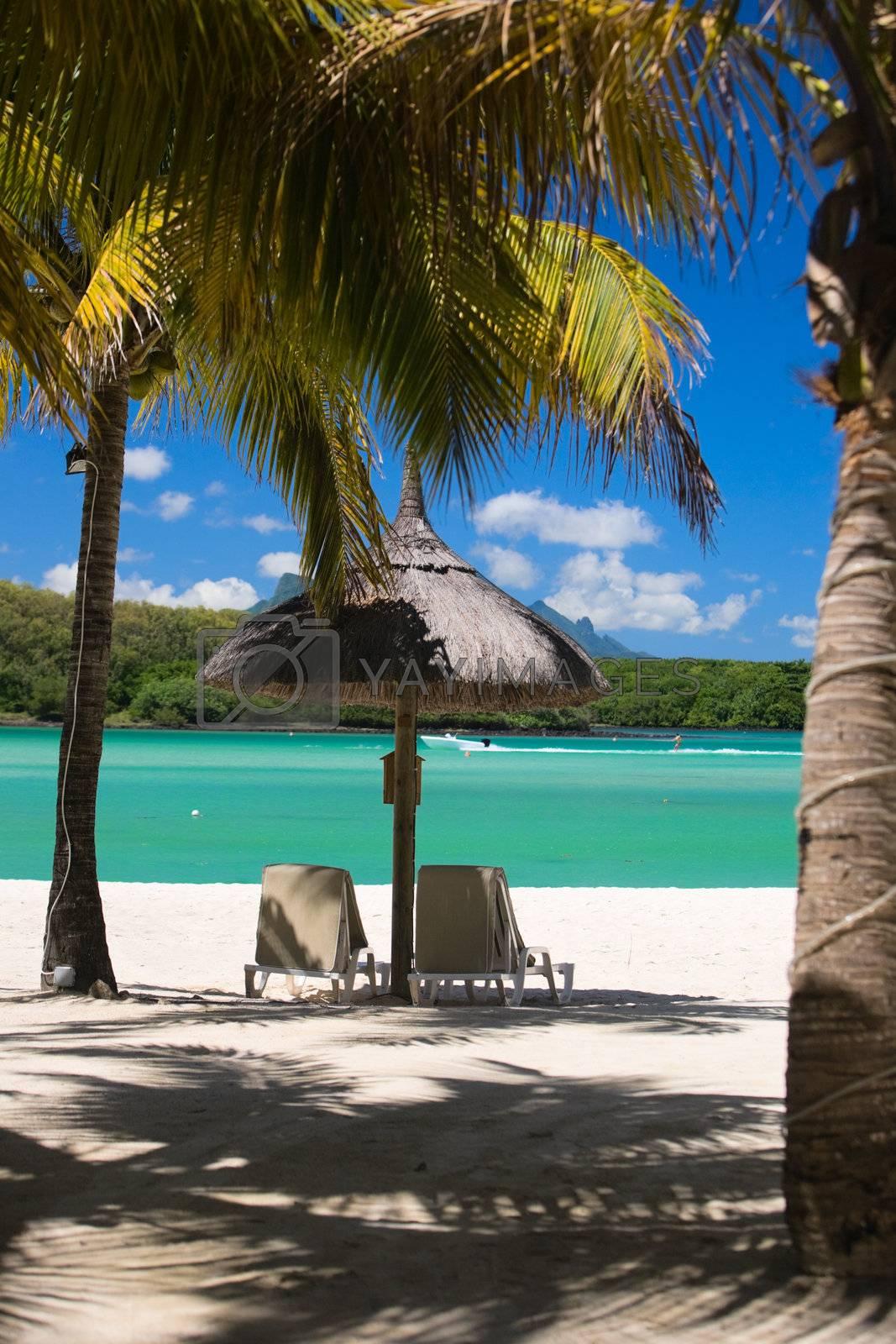 Beautiful tropical beach in luxury resort in Mauritius