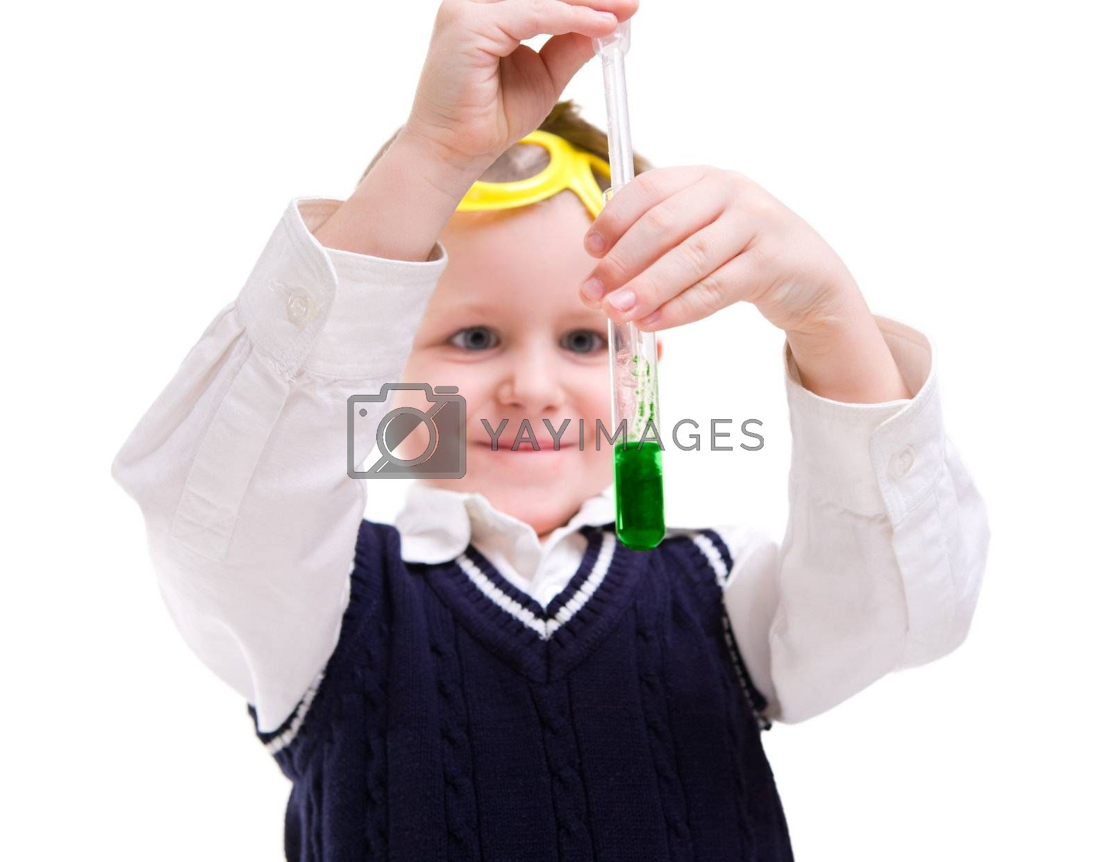 Young boy performing chemistry experiments