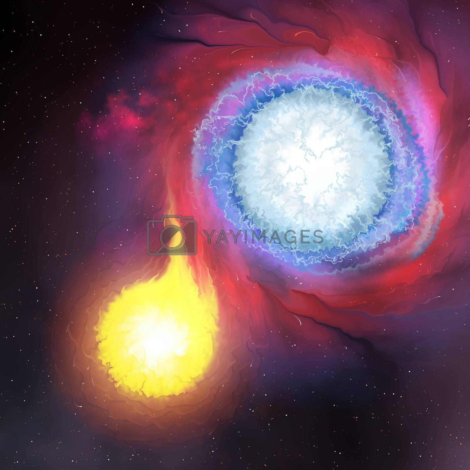 A binary star system is composed of two stars orbiting a center mass. Here the larger blue star is absorbing the other smaller secondary star.