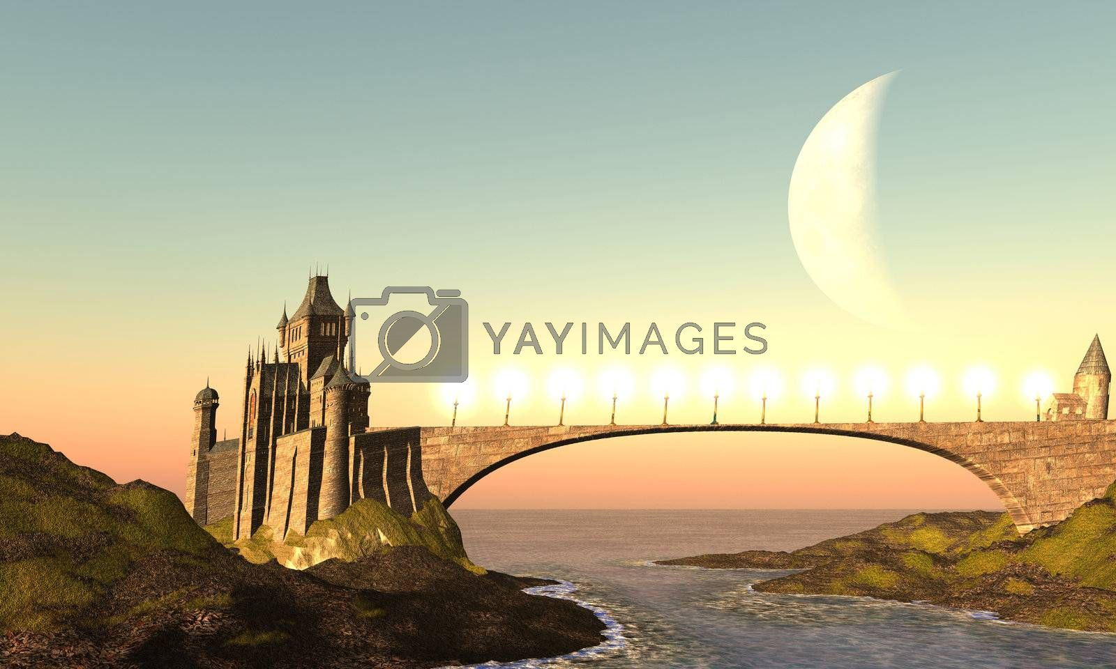 A castle and its bridge are bathed in the colors of the sunset.