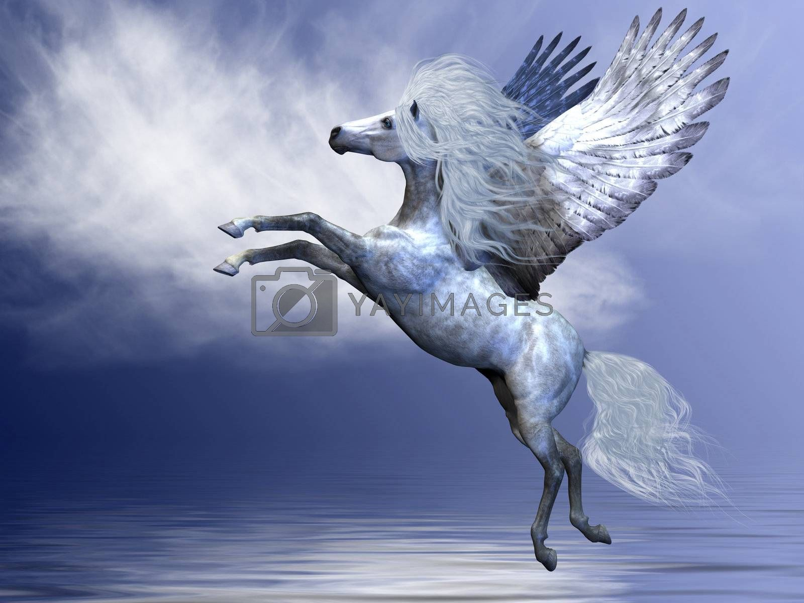 White Pegasus spreads his magnificent wings in flight over an ocean.