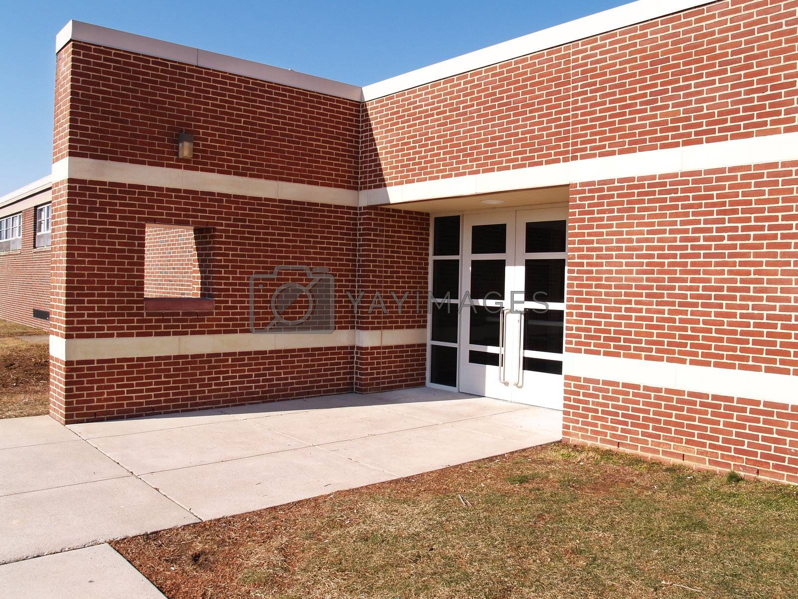 exterior of a modern red brick building