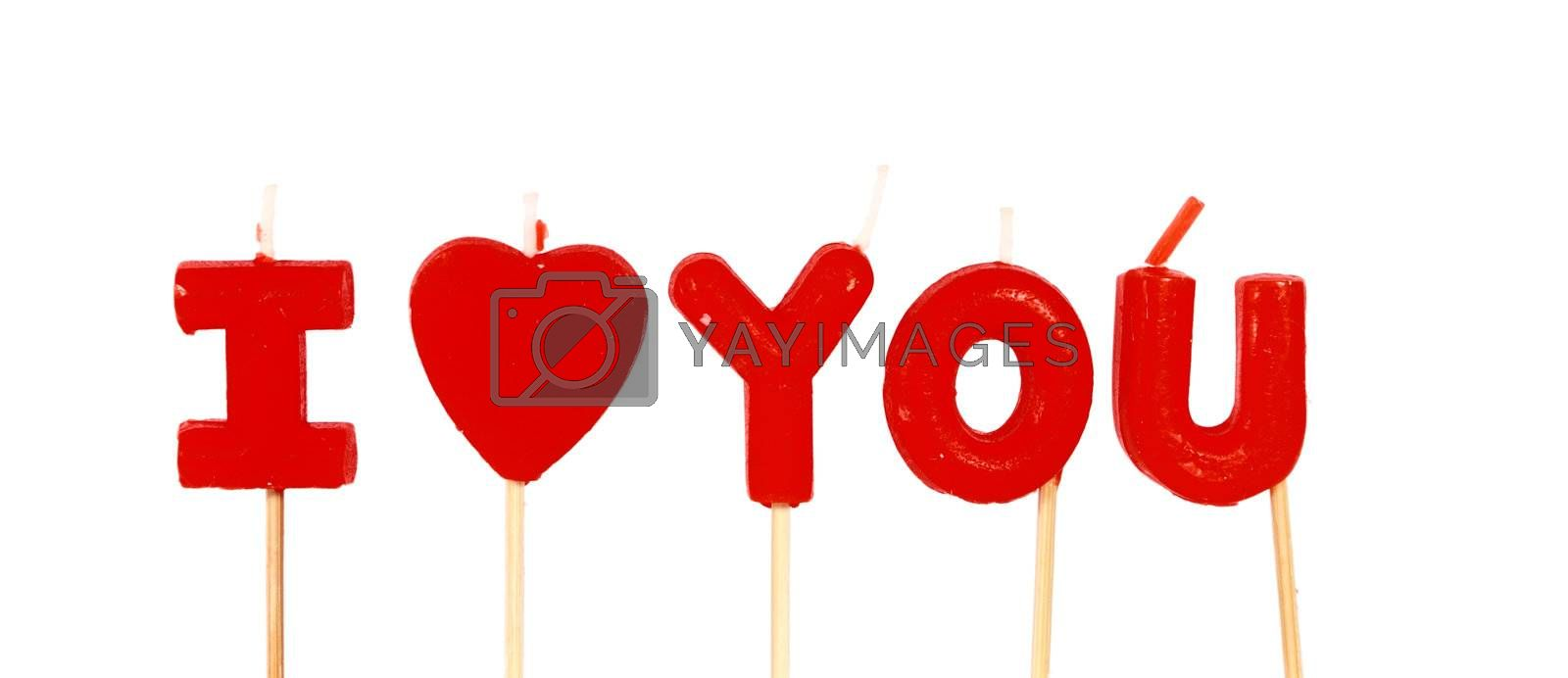 I love you words composed of candles isolated