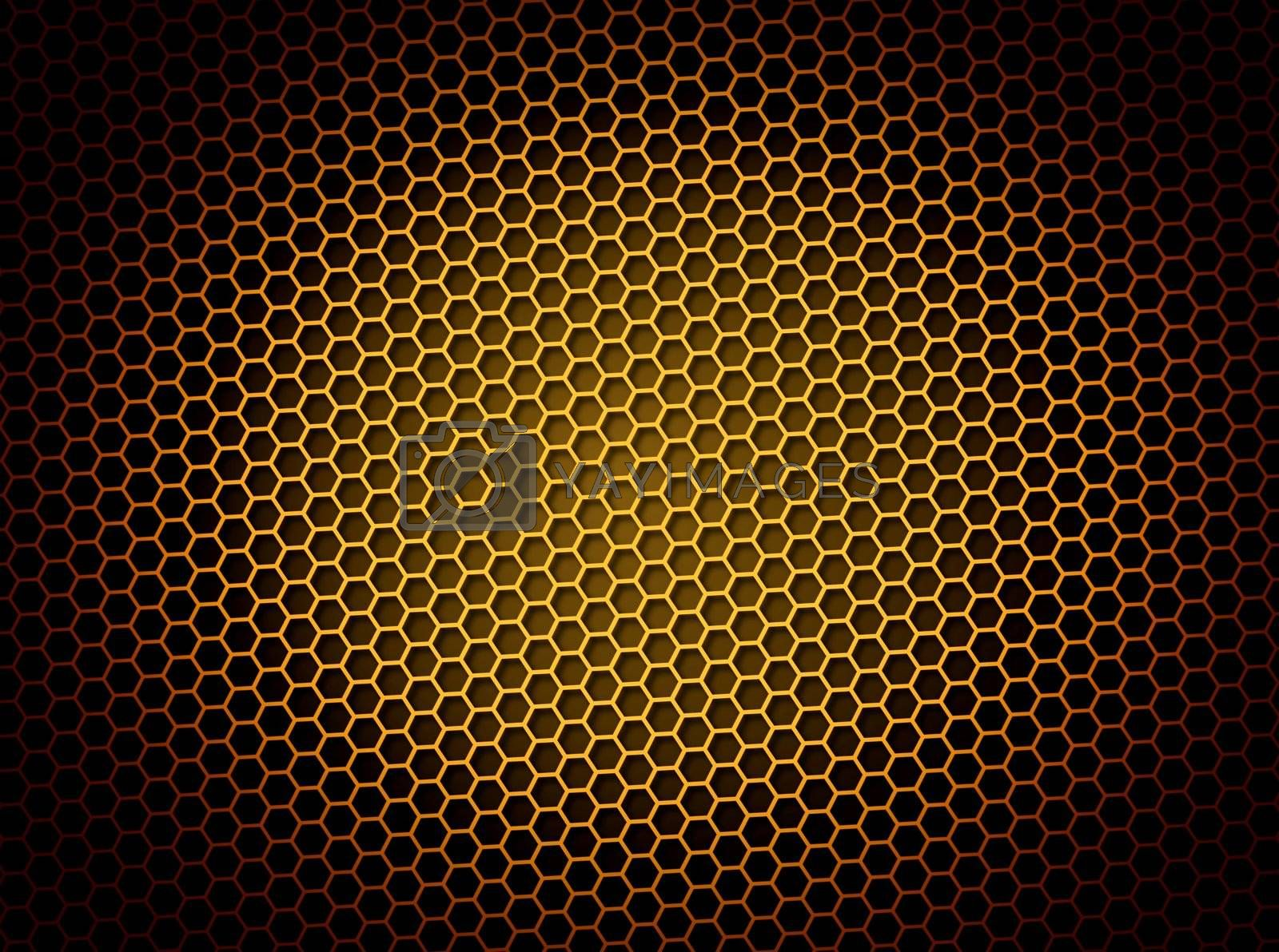 Golden honeycomb background 3d illustration or backdrop with light effect