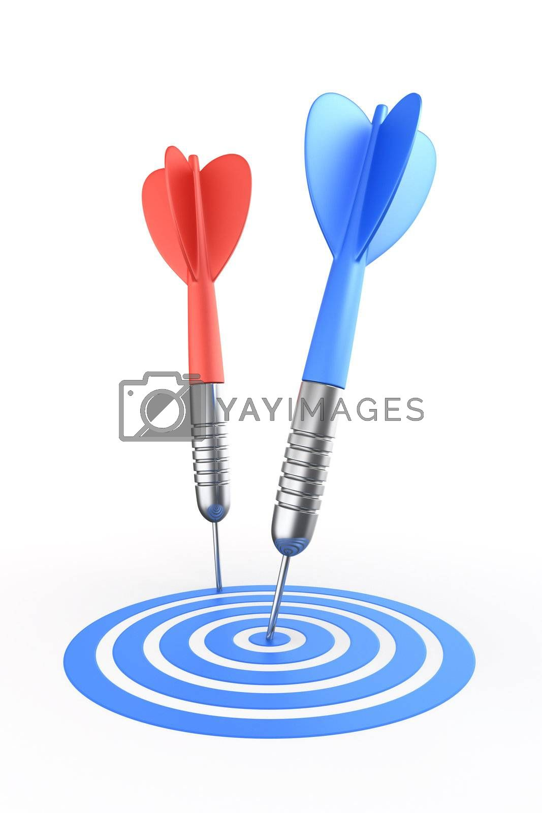 3d rendering of a dart hitting the target and one missing