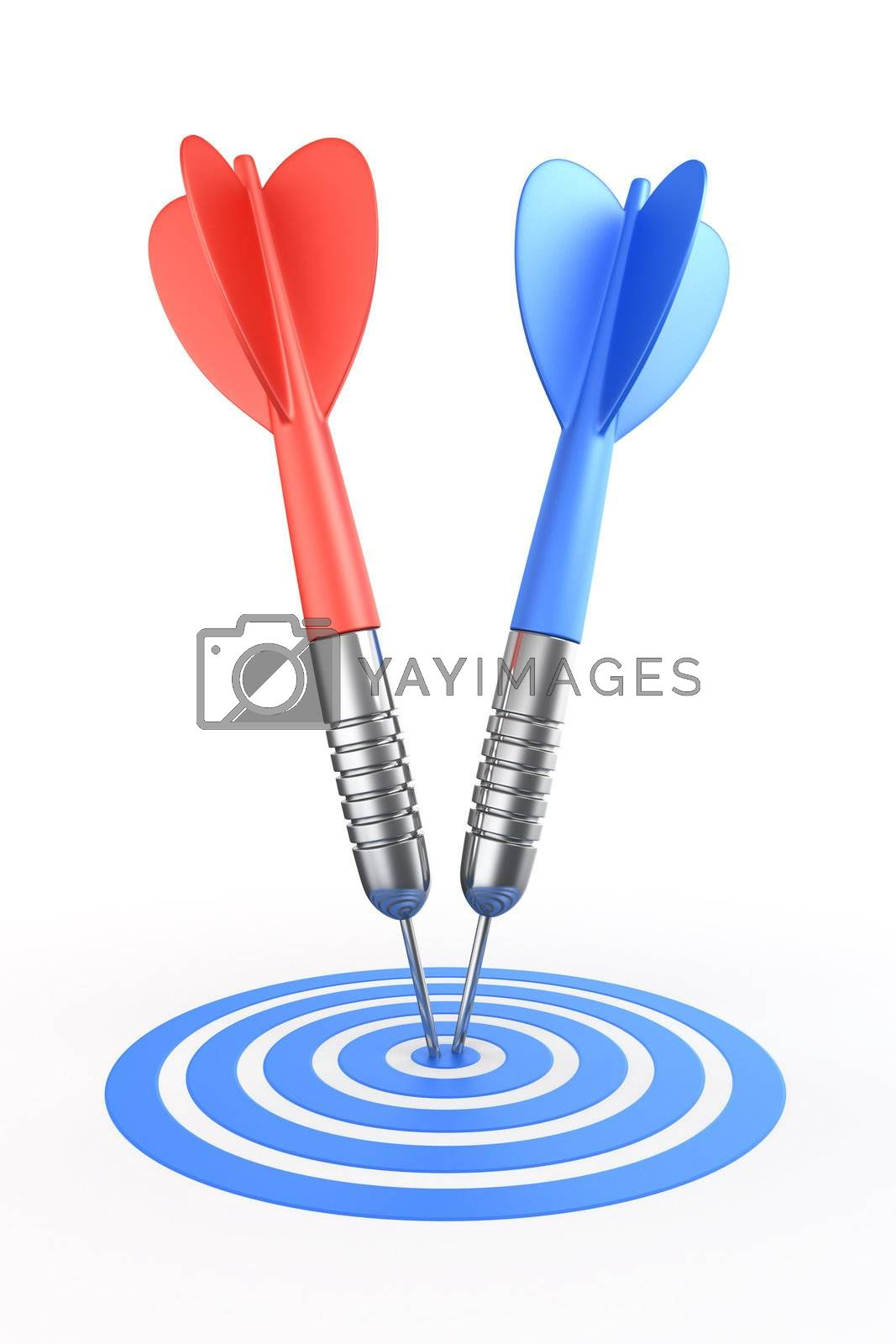 3d rendering of darts hitting the target