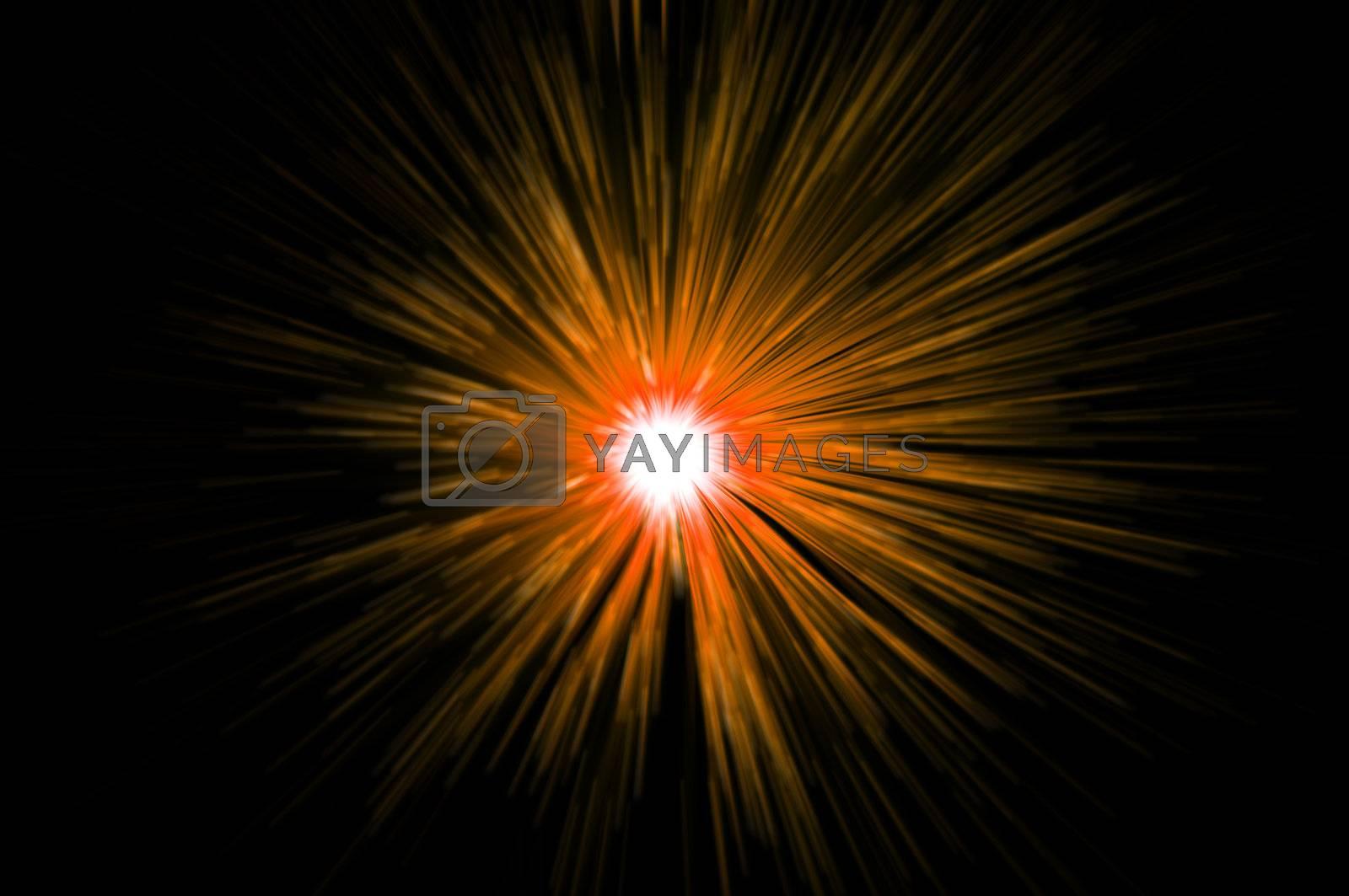 Abstract golden colour light motion blur against black