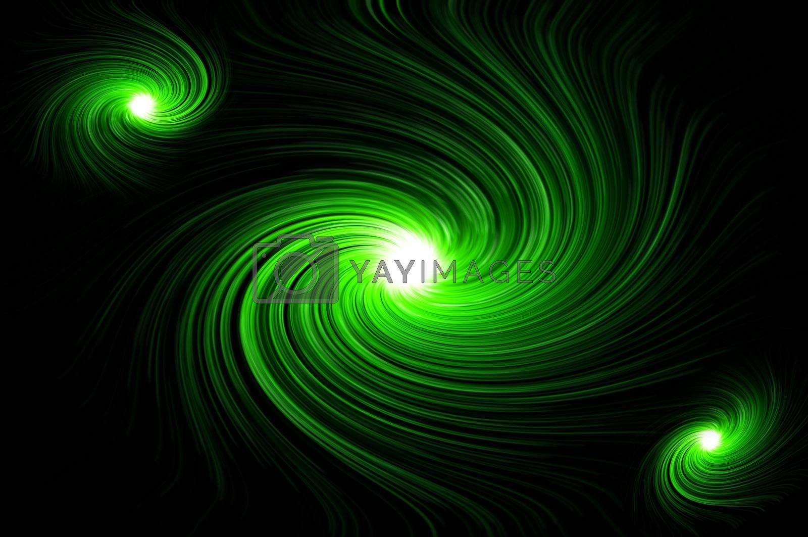 Abstract green swirling lights against black background.
