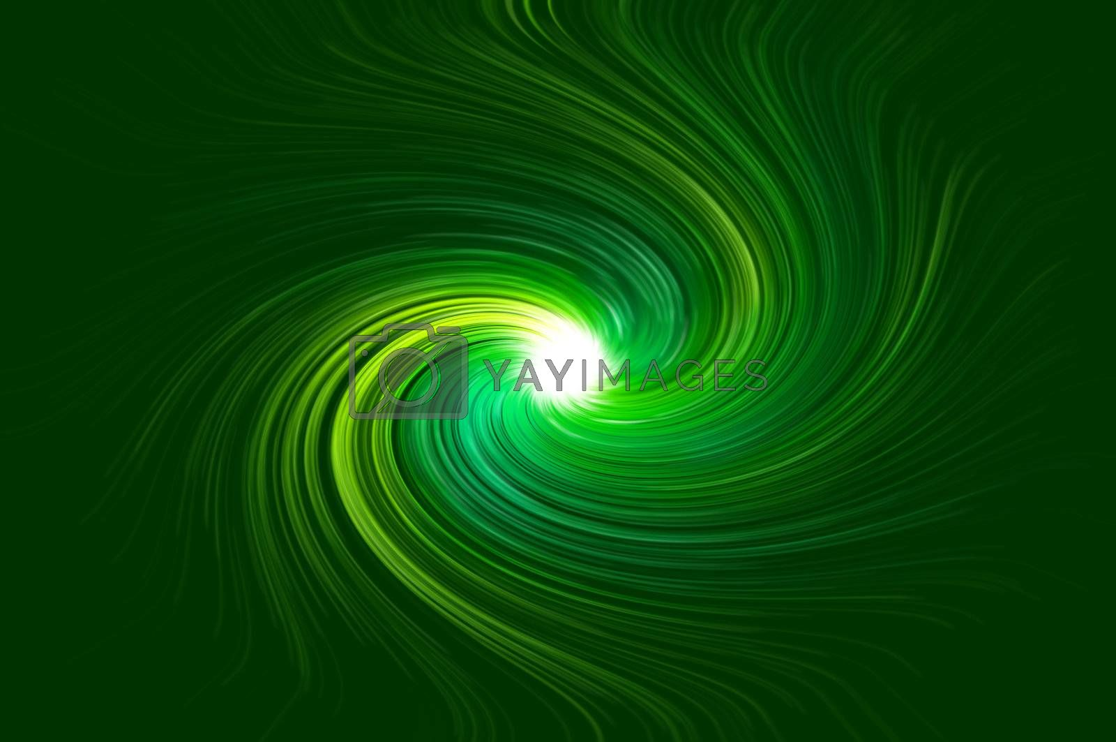 Abstract green swirling light against green background.