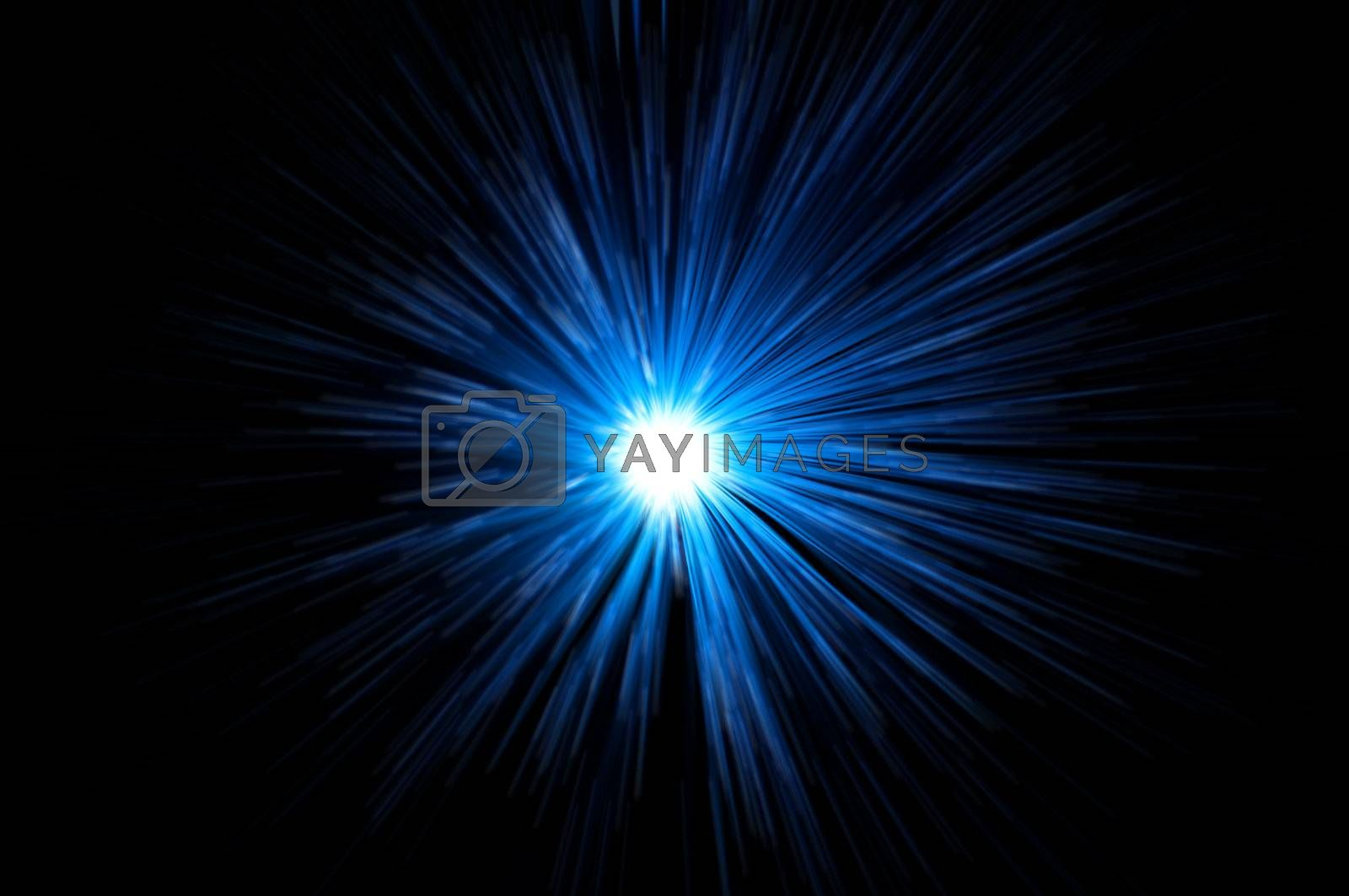 Blue light motion blur against black background.