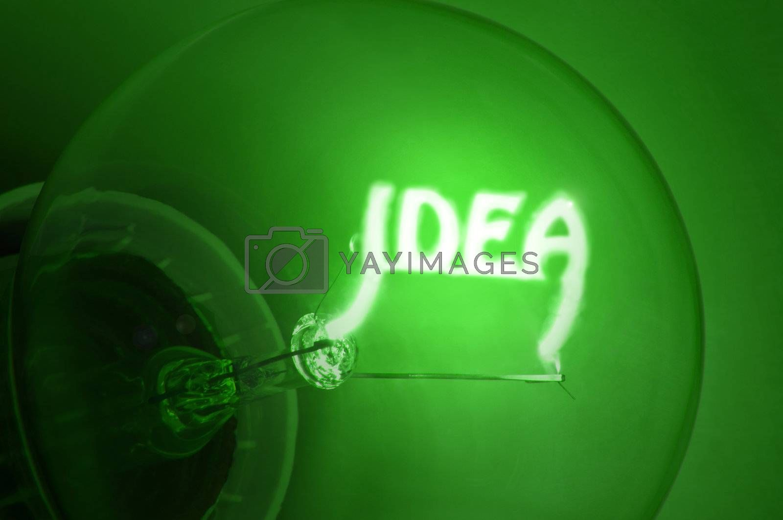 "Close up of green illuminated light bulb filament spelling the word ""IDEA"""