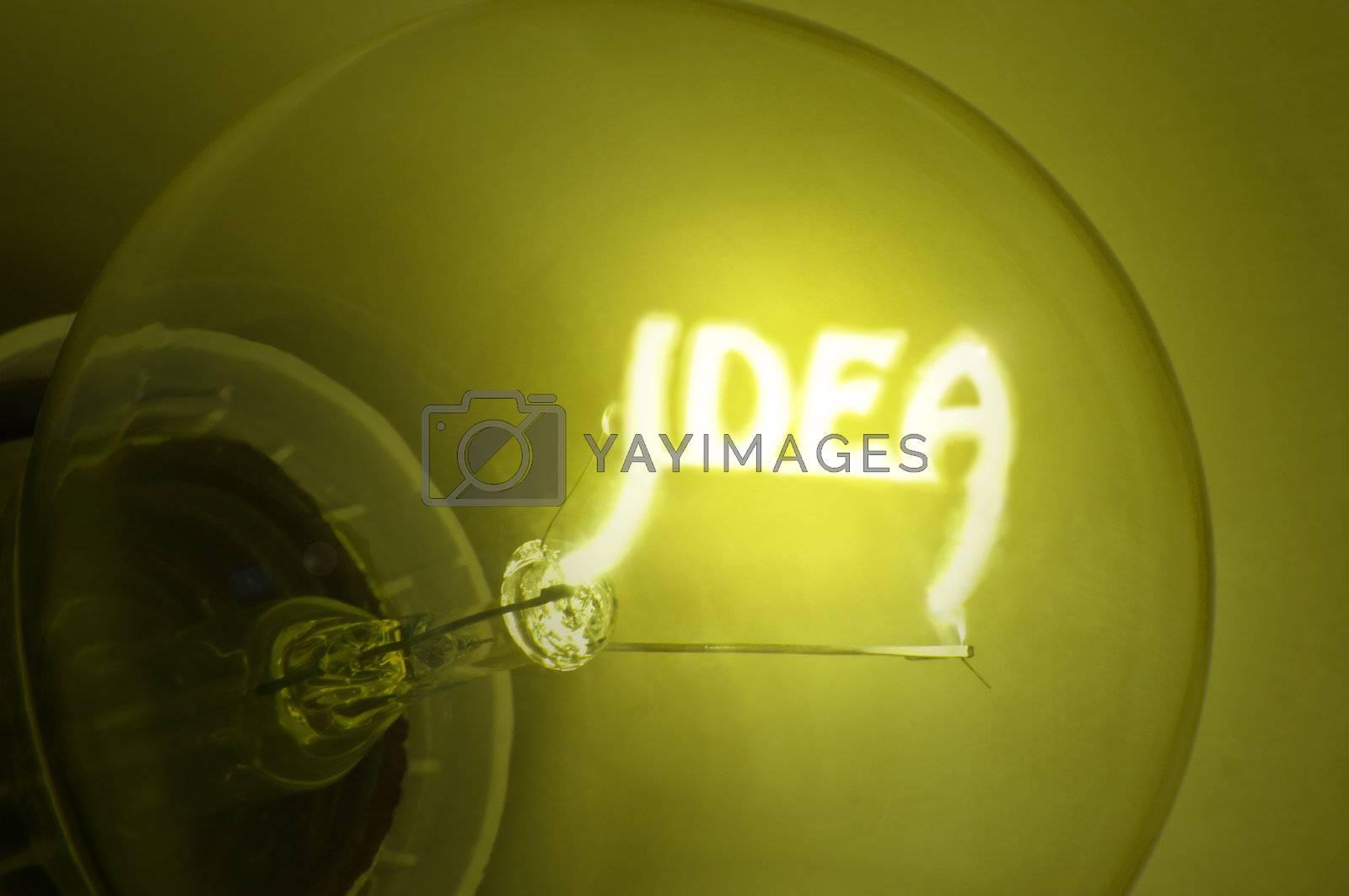 "Close up of yellow illuminated light bulb filament spelling the word ""IDEA"""