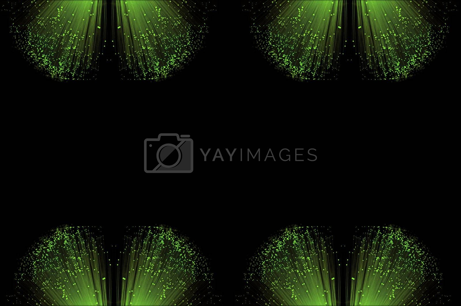 Eight small groups of illuminated fiber optic light strands arranged along the top and bottom border of the image with black background.
