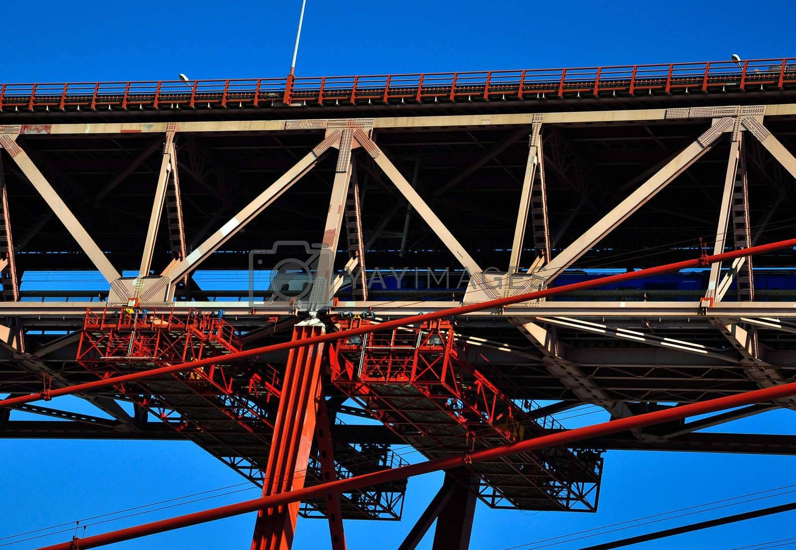 Rail-road 2 storey bridge over the River Tejo
