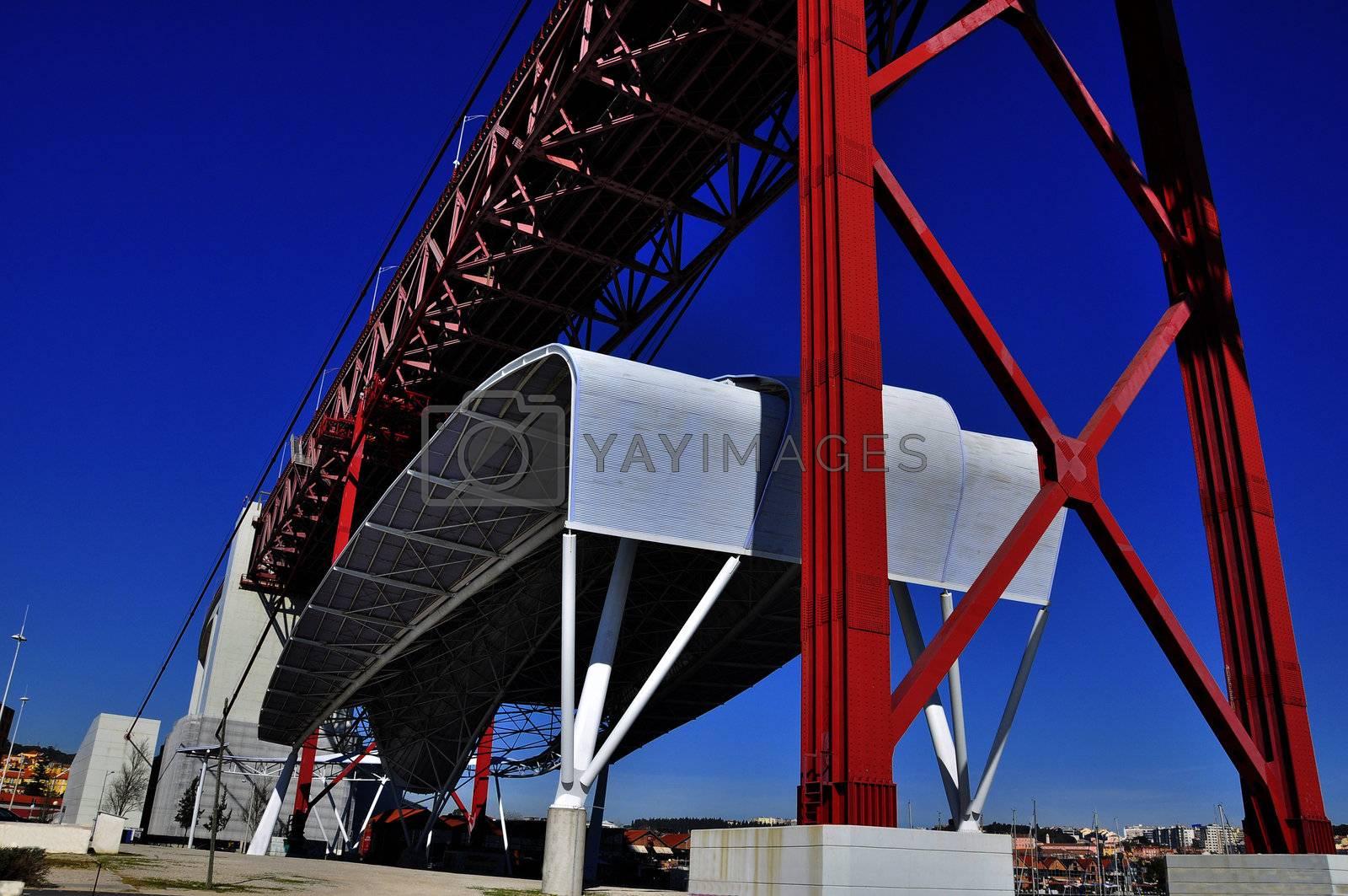 Construction of the bridge, railway and transport bridge Portugal Lisbon Bridge on April 25 architecture