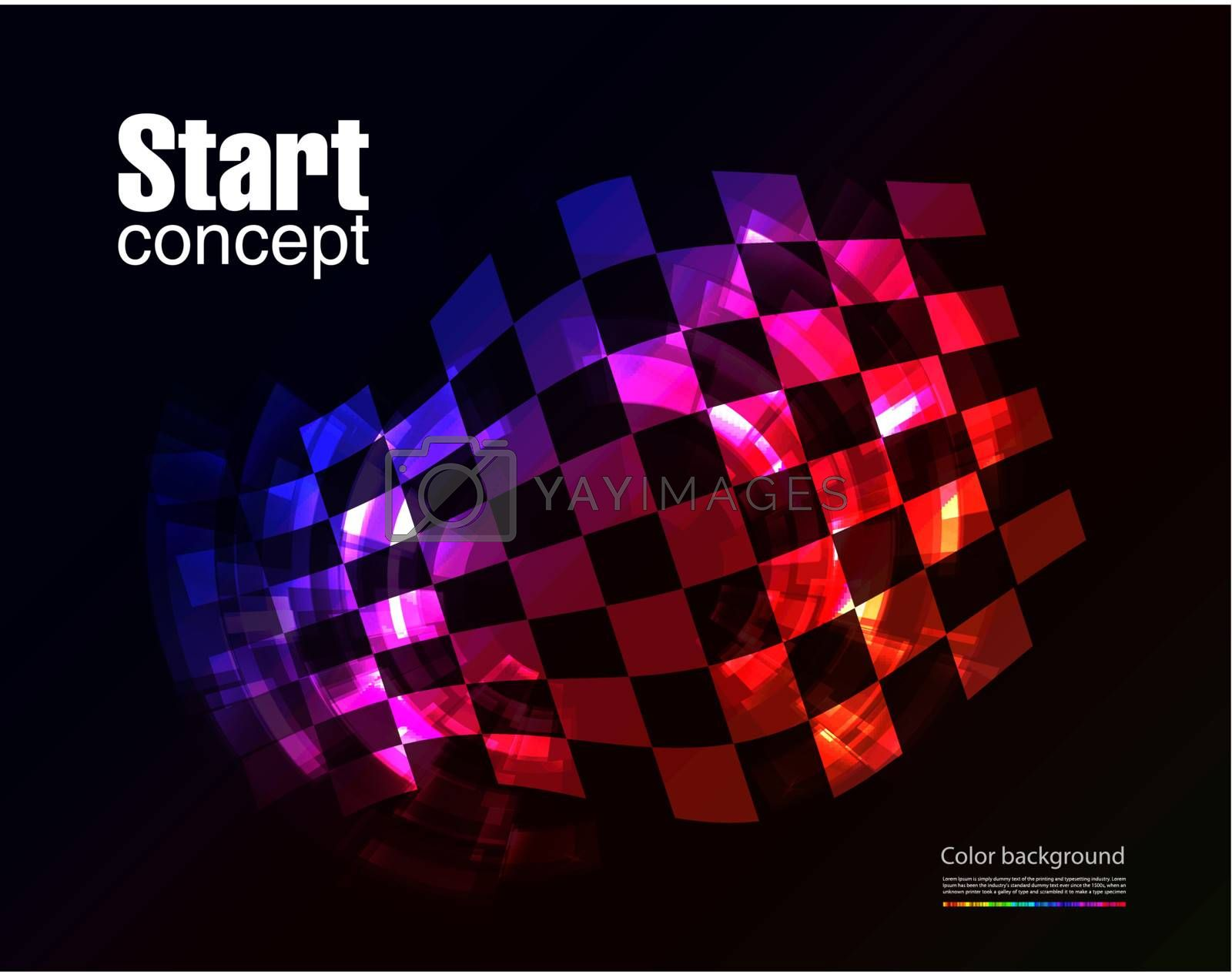 Checkered winding flag on black background. Concept illustration