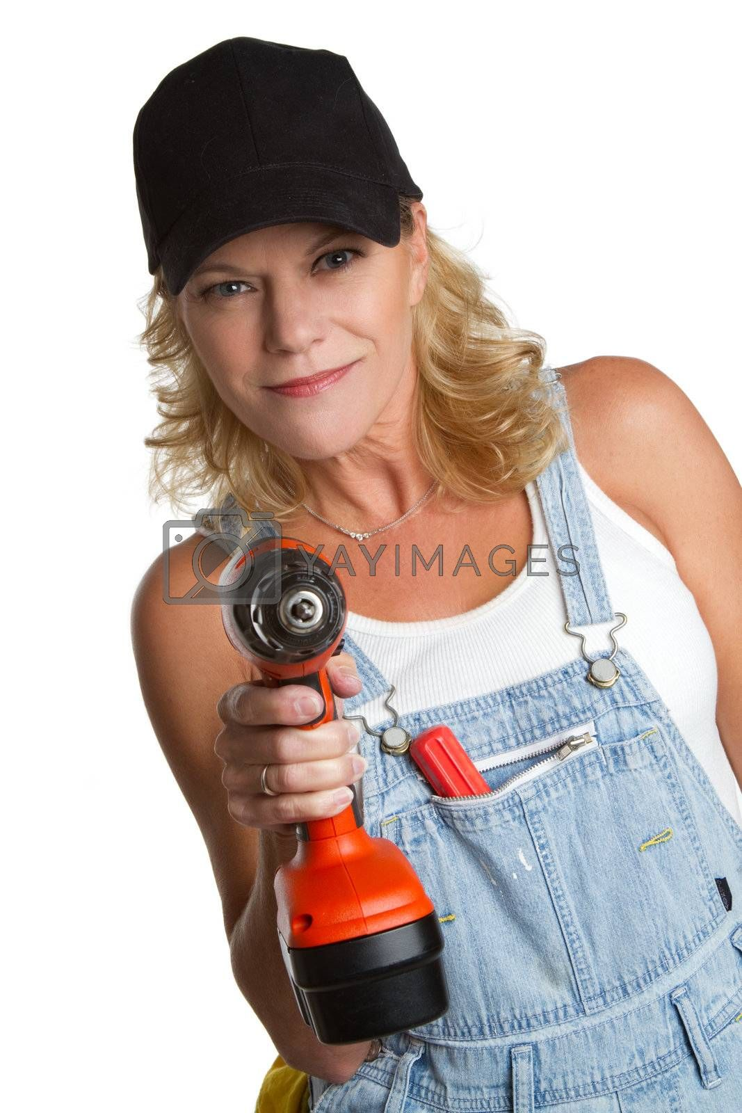 Isolated woman using power tools