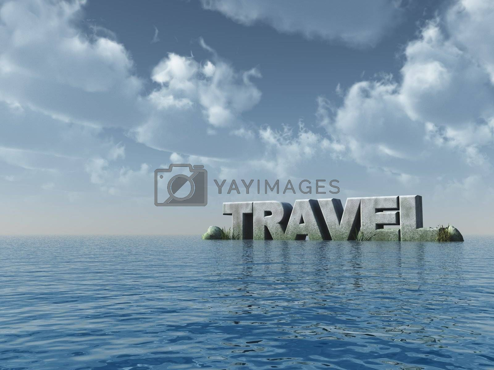 the word travel at the ocean - 3d illustration