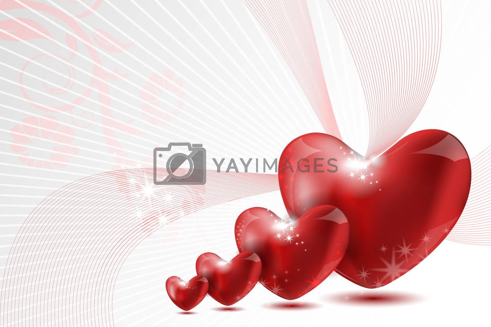 illustration of loving hearts on white background