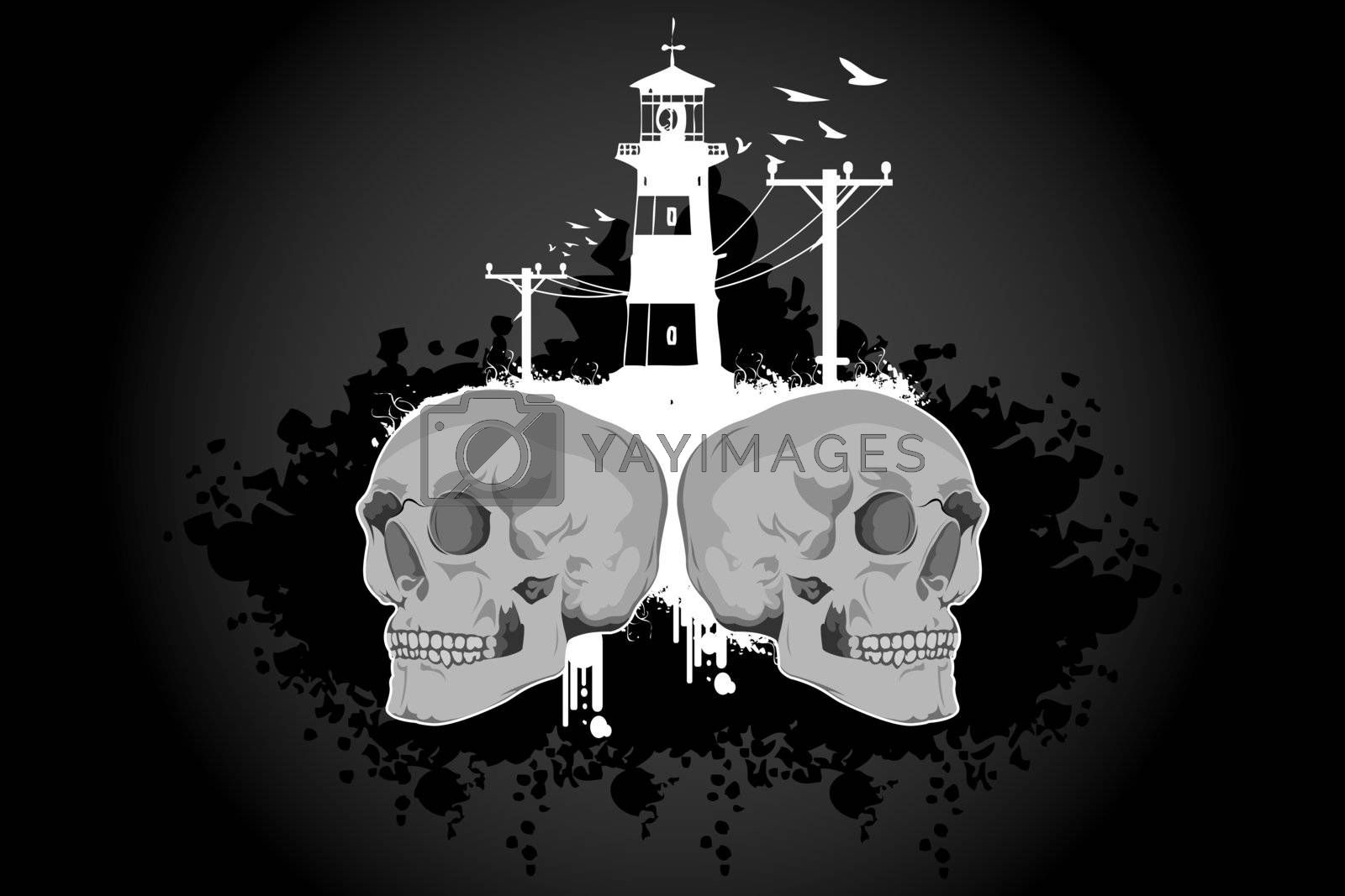 illustration of skull with building on abstract background