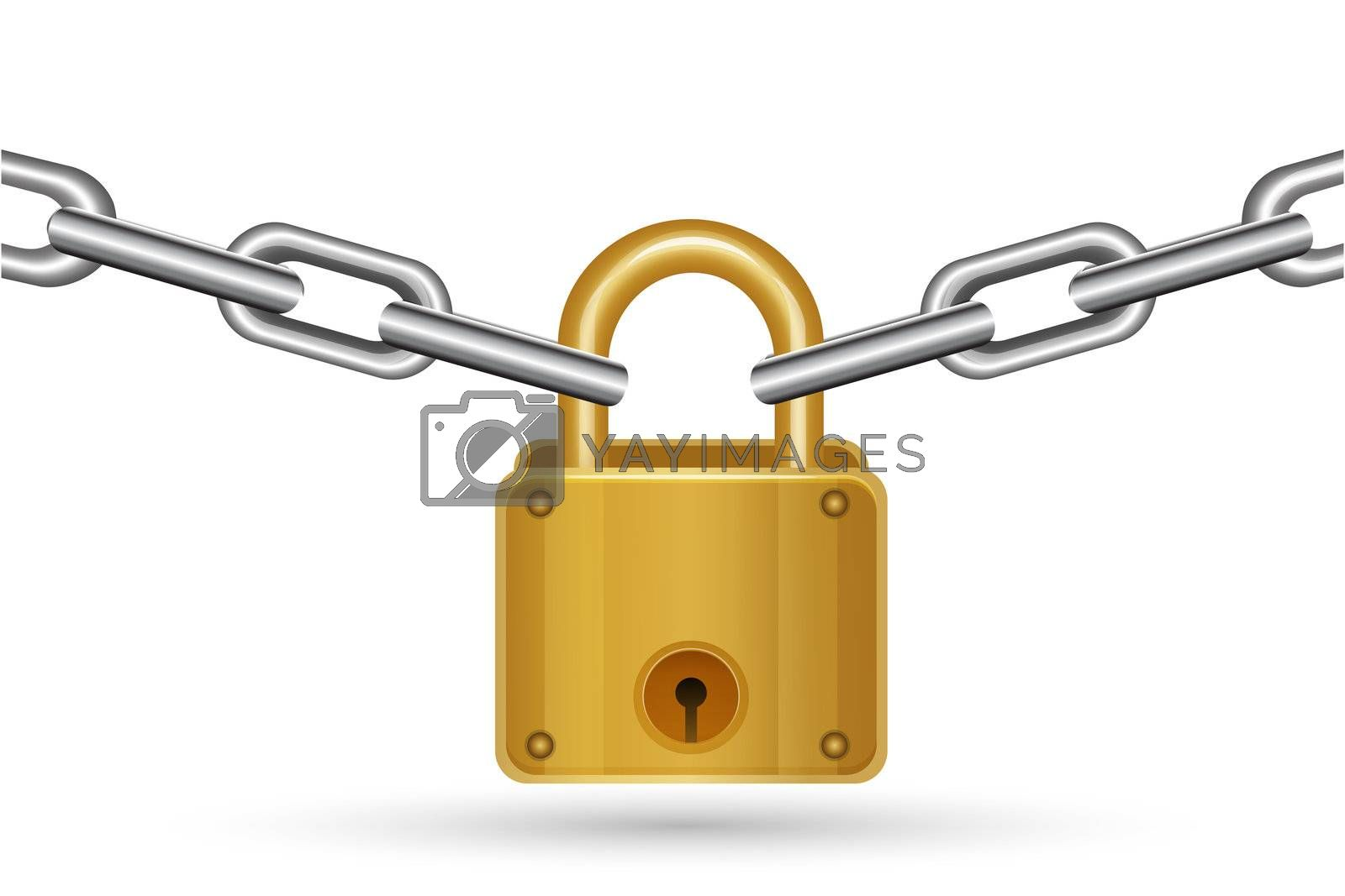 illustration of lock with chain on white background