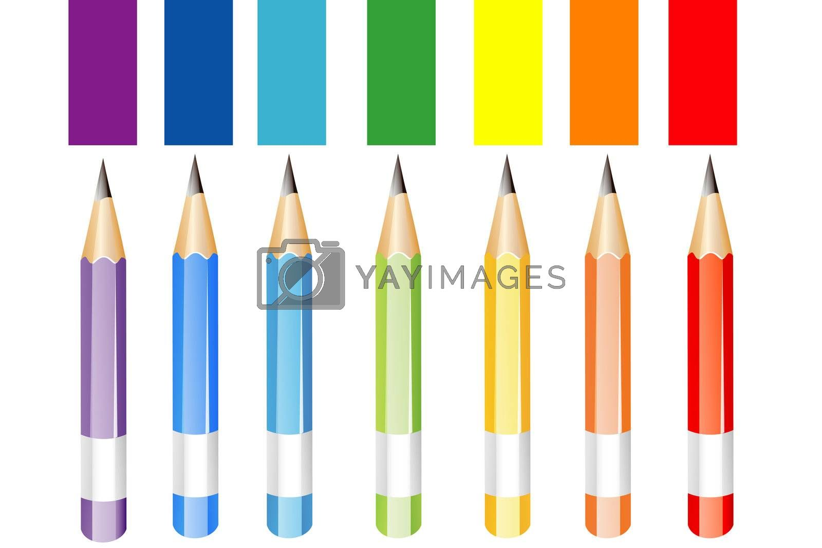 illustration of colorful pencils on white background