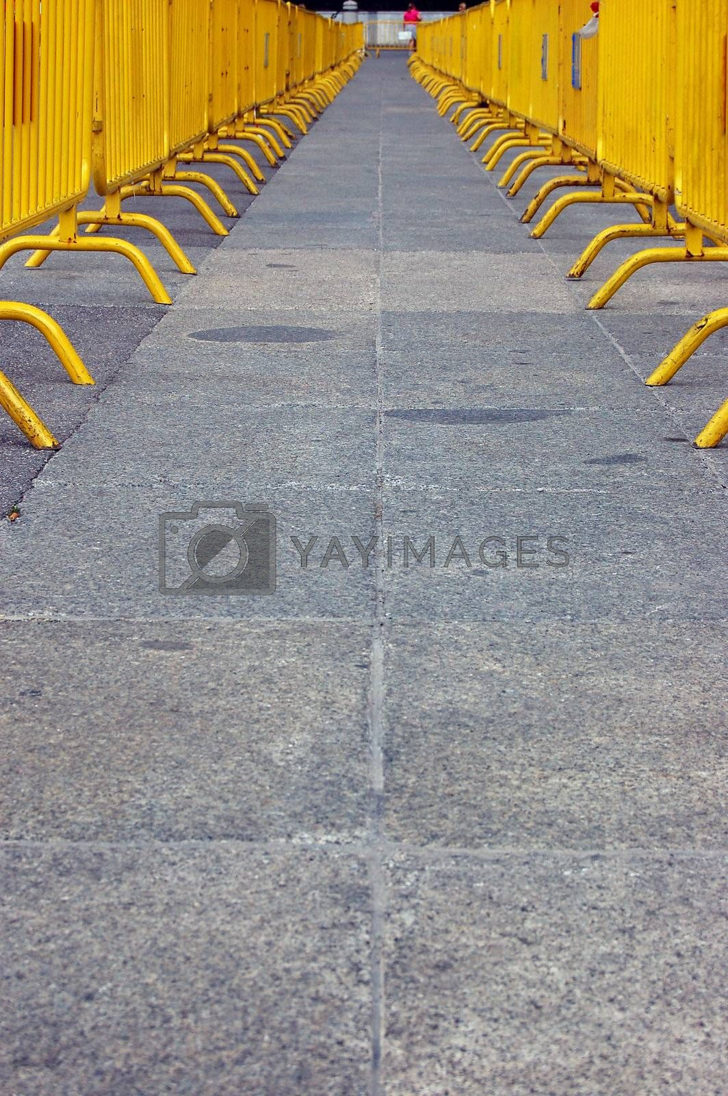 Yellow Barrier Path on the road - conceptual image