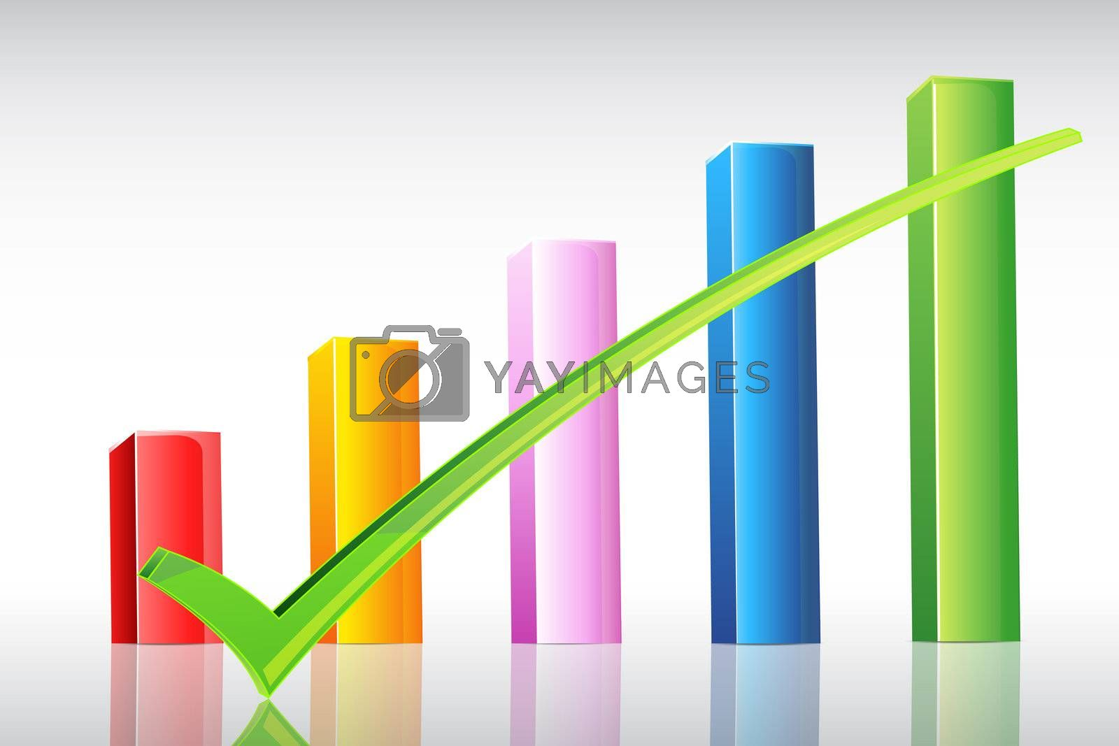 illustration of business graph with right tick on white background