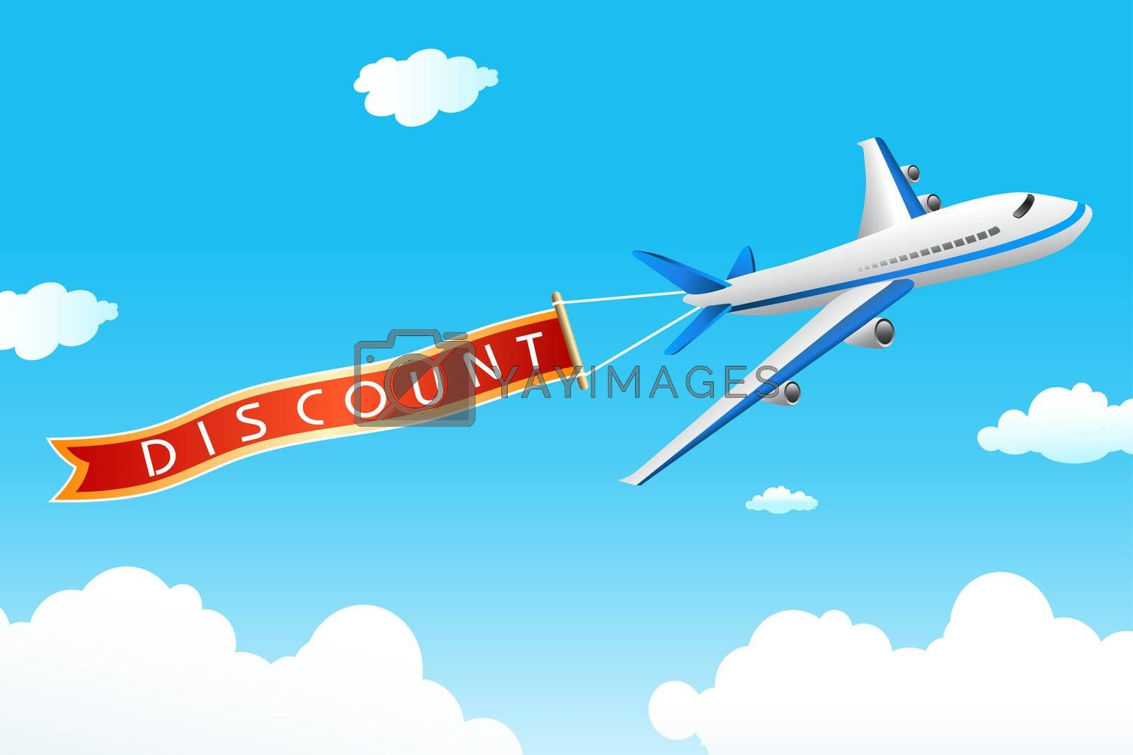 illustration of discount tag with plane in sky