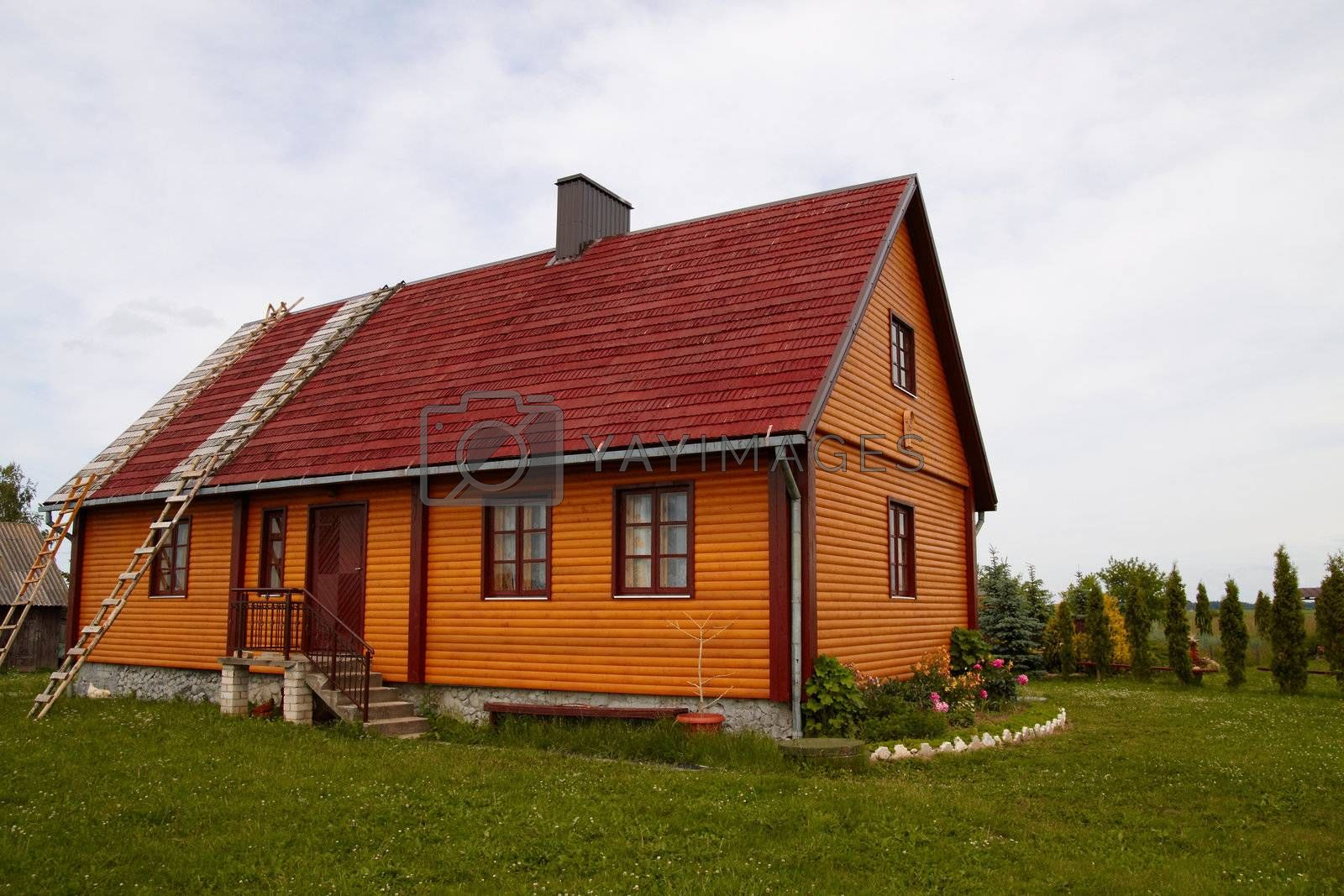 Completed restoration of old fashioned wooden house