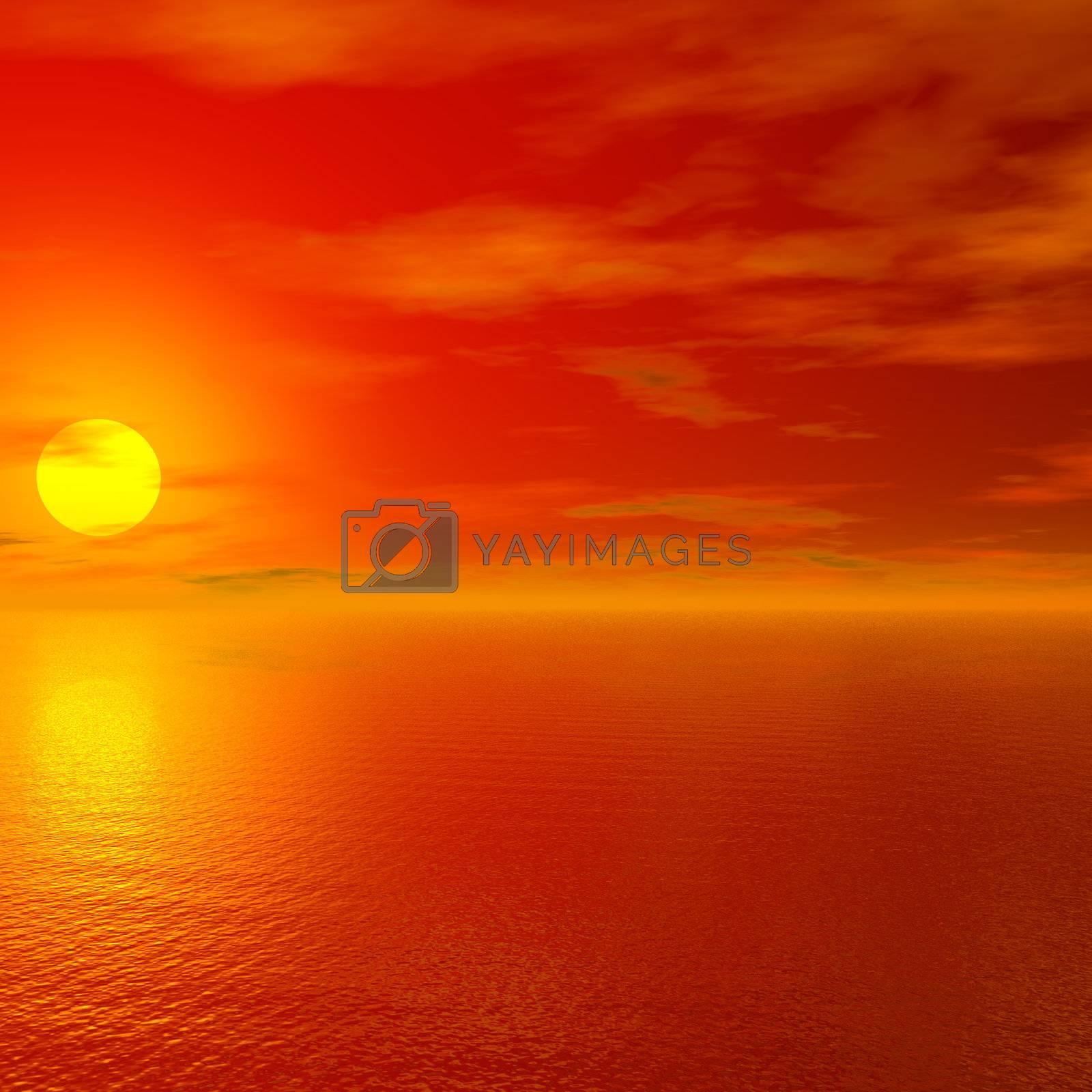 Red sunset by MartMartov