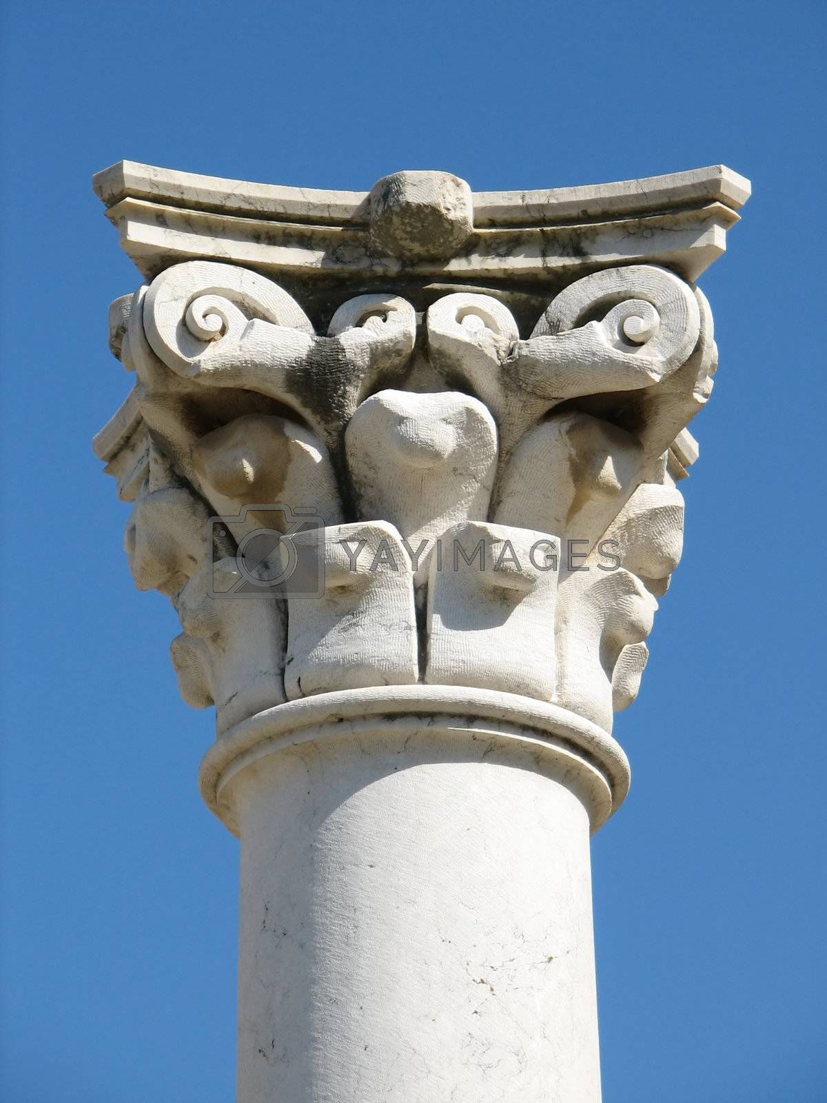 antique Greek column on the Island of Kos in the Mediterranean area, called Asclepion, hospital of the famous doctor Hippokrates