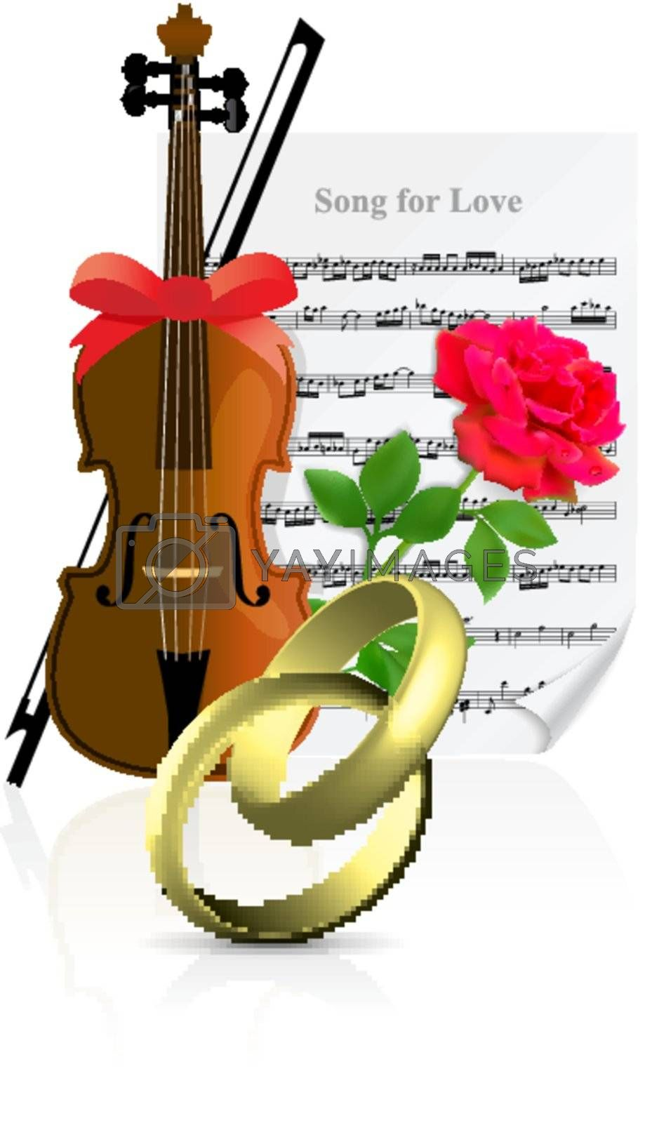 Wedding illustration with rings, violin, rose and note page on white background