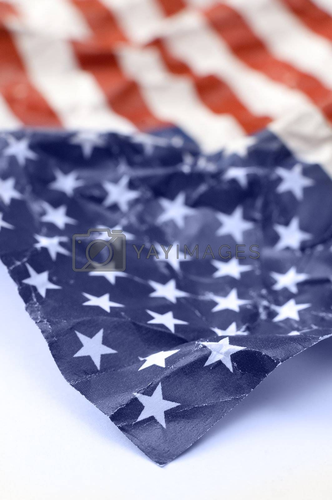 detail photo of wrinkled USA flag, shallow depth of view