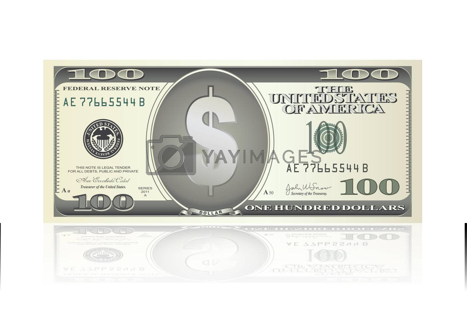 illustration of dollar note on white background