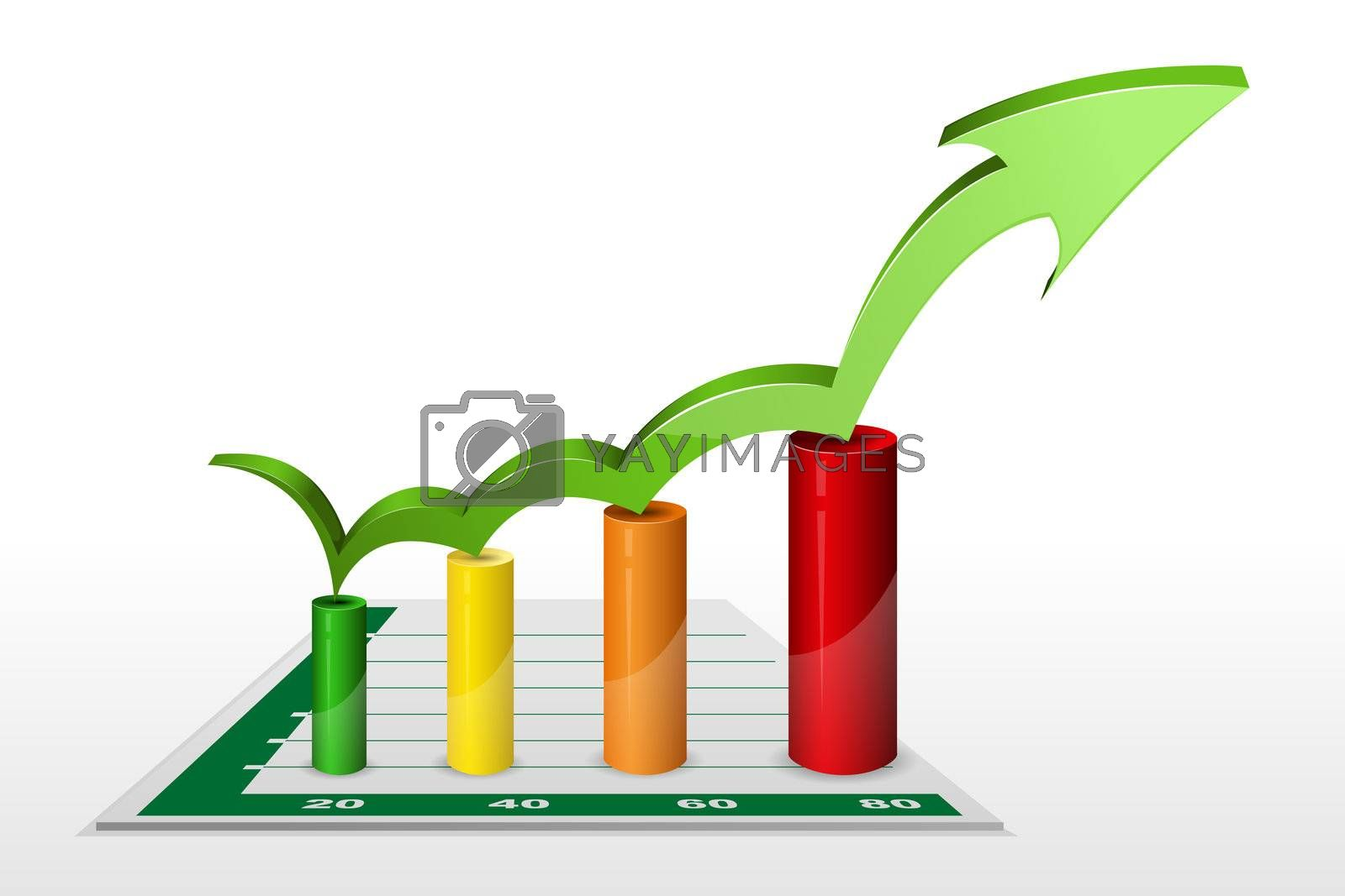 illustration of business graph with arrow on white  background