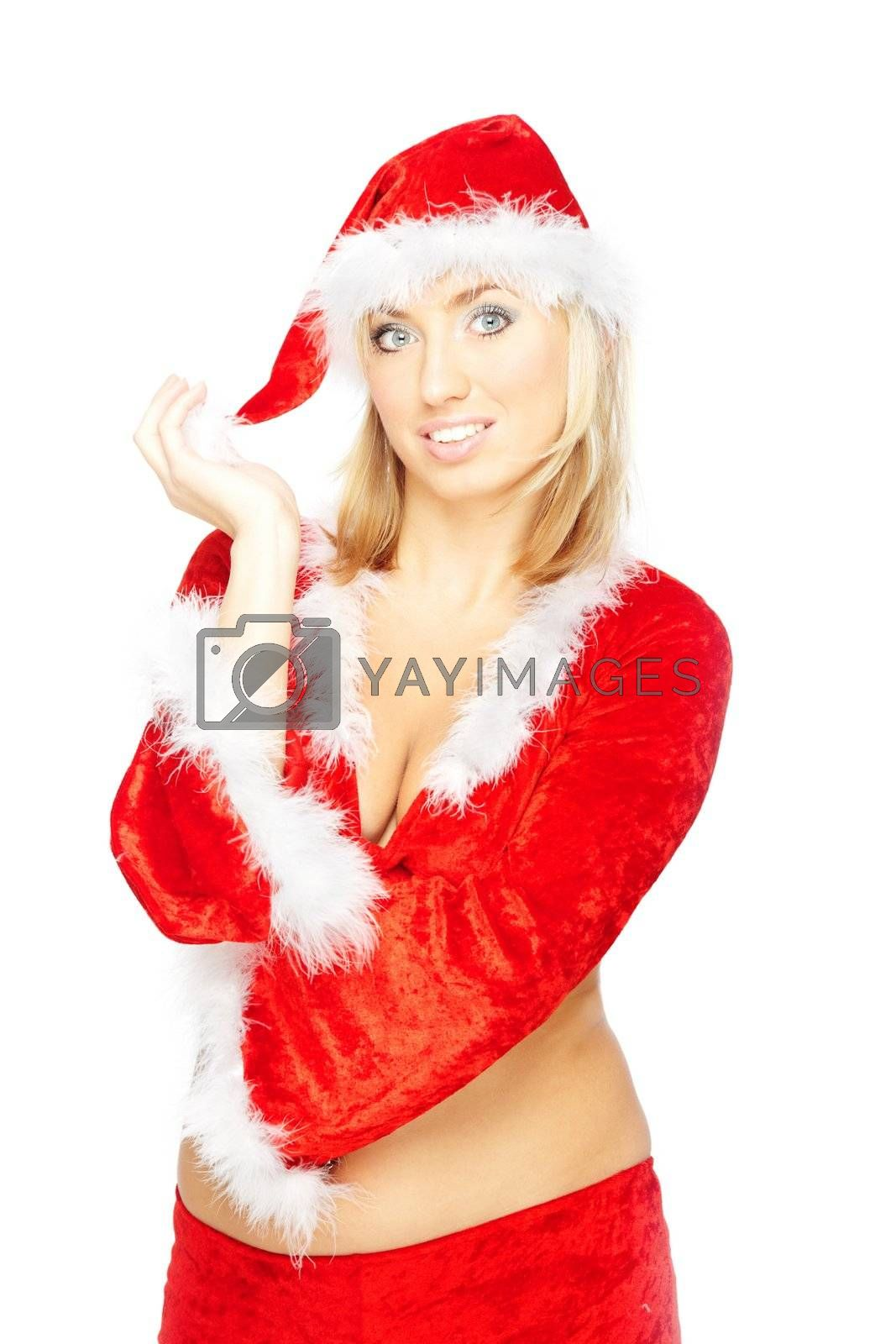 Blond lady in the red Santa Claus costume on a white background