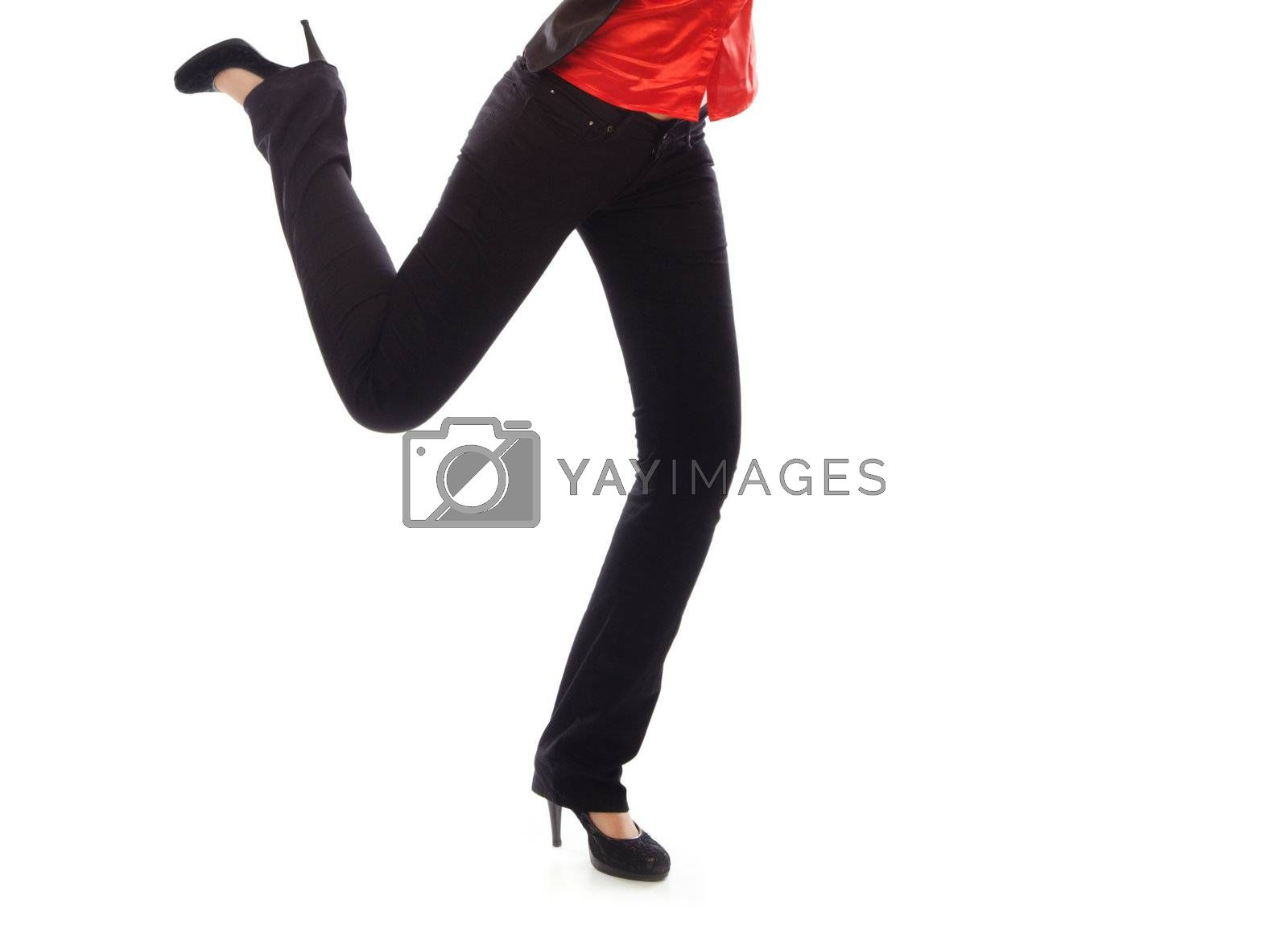 Legs of running human on a white background. Black trousers and red shirt